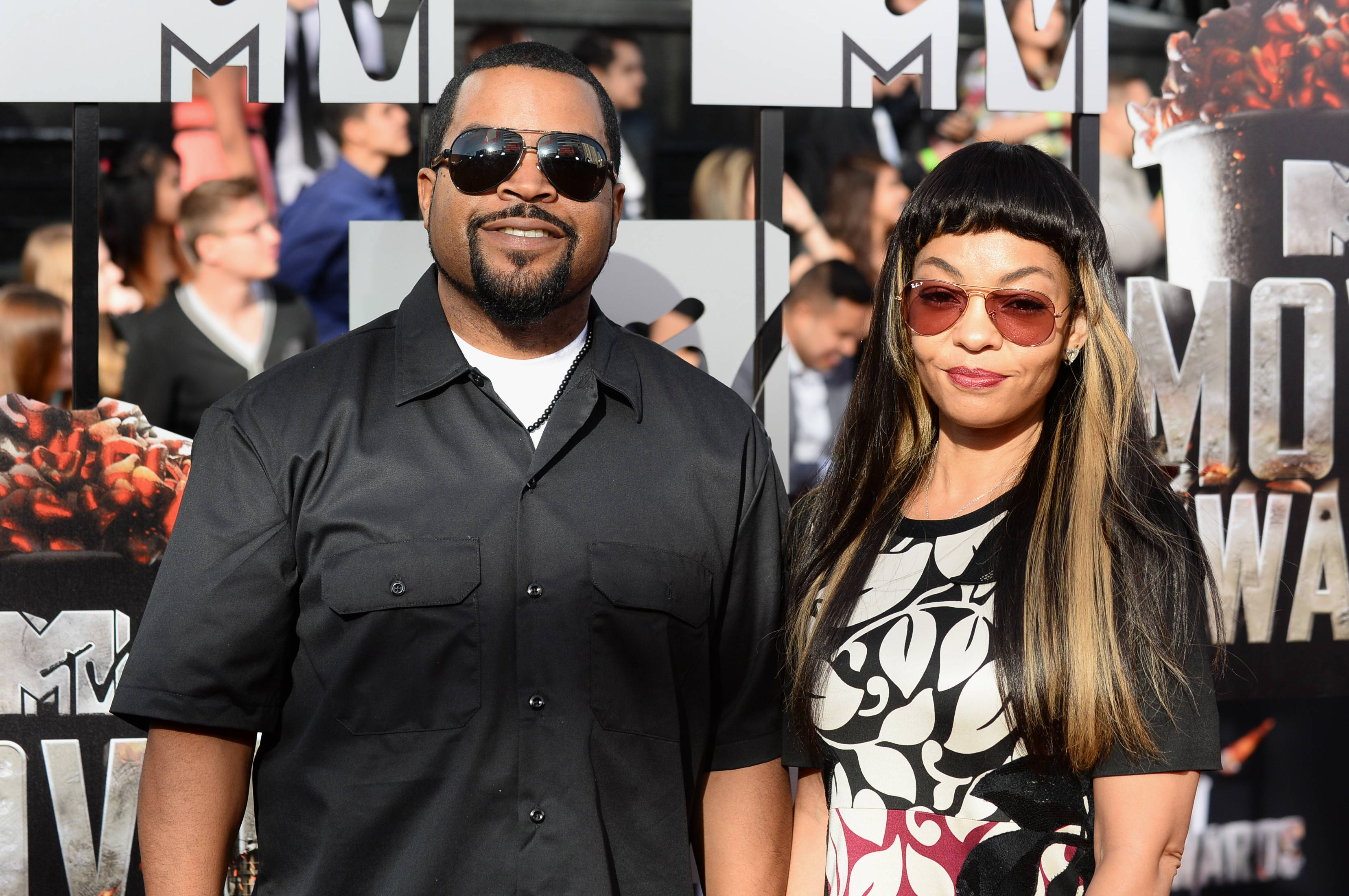 Ice Cube, left, and Kimberly Woodruff arrive at the MTV Movie Awards on Sunday.