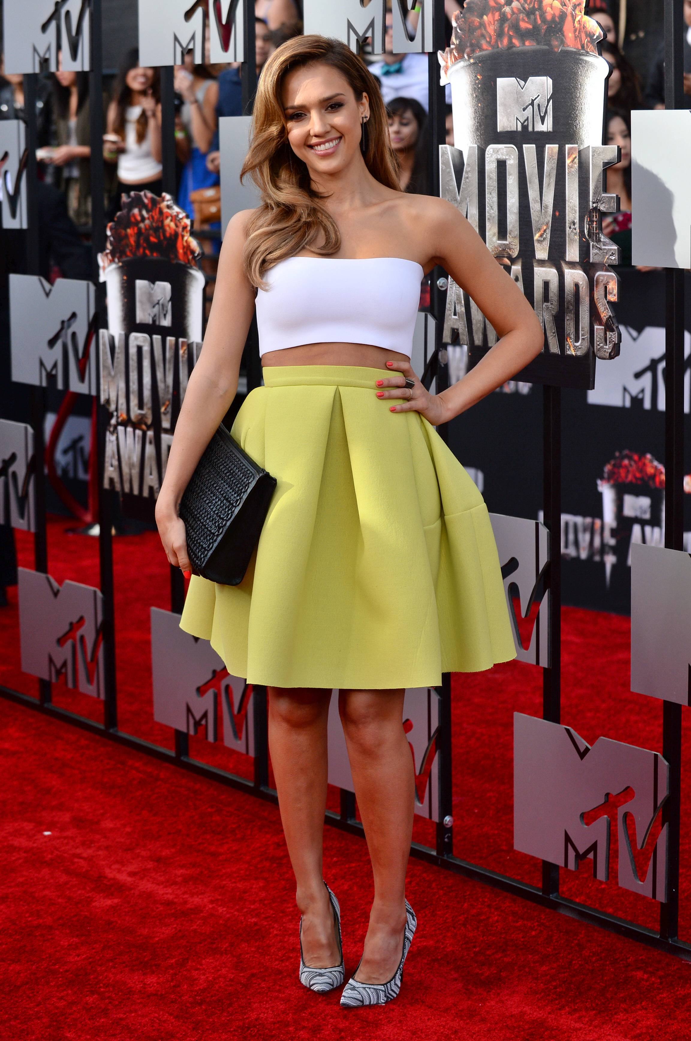 Jessica Alba arrives at the MTV Movie Awards on Sunday.