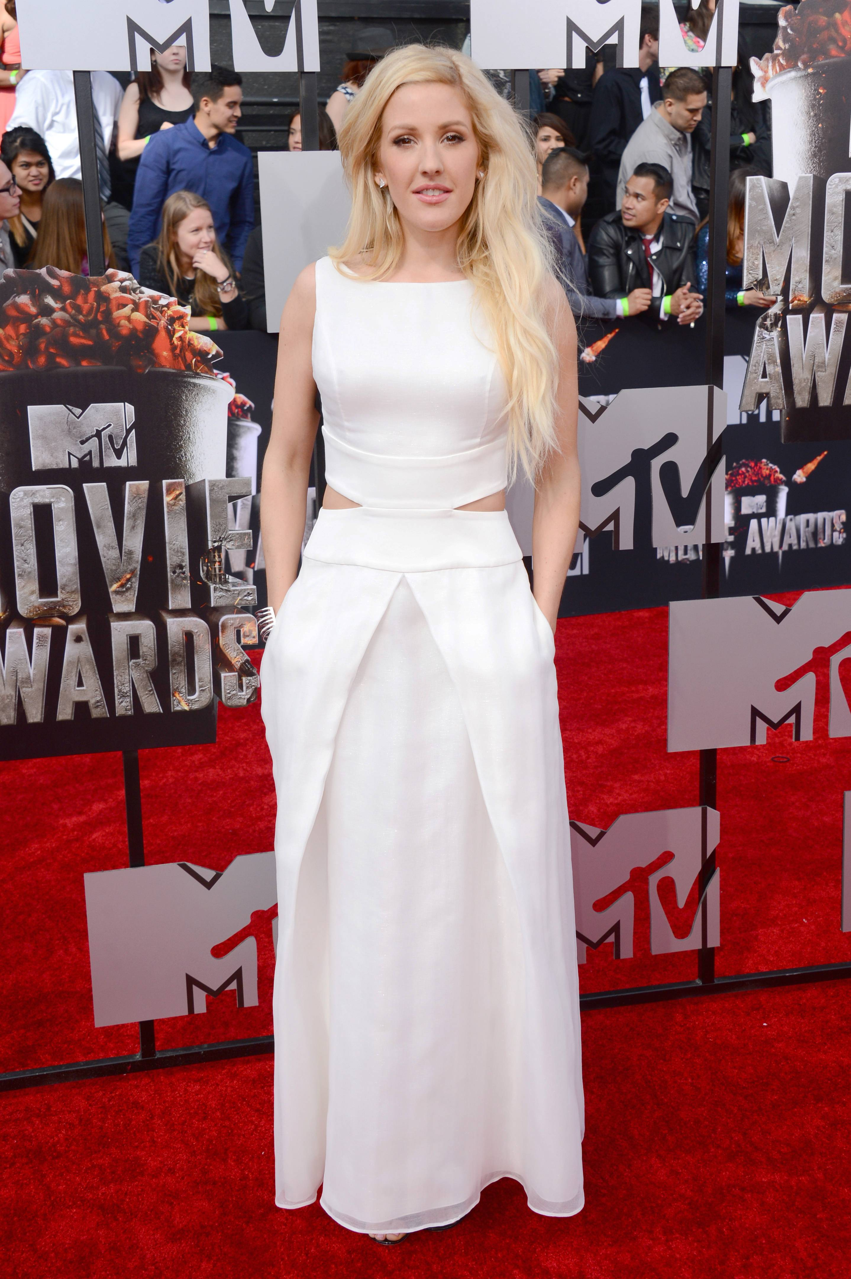 Ellie Goulding arrives at the MTV Movie Awards on Sunday.
