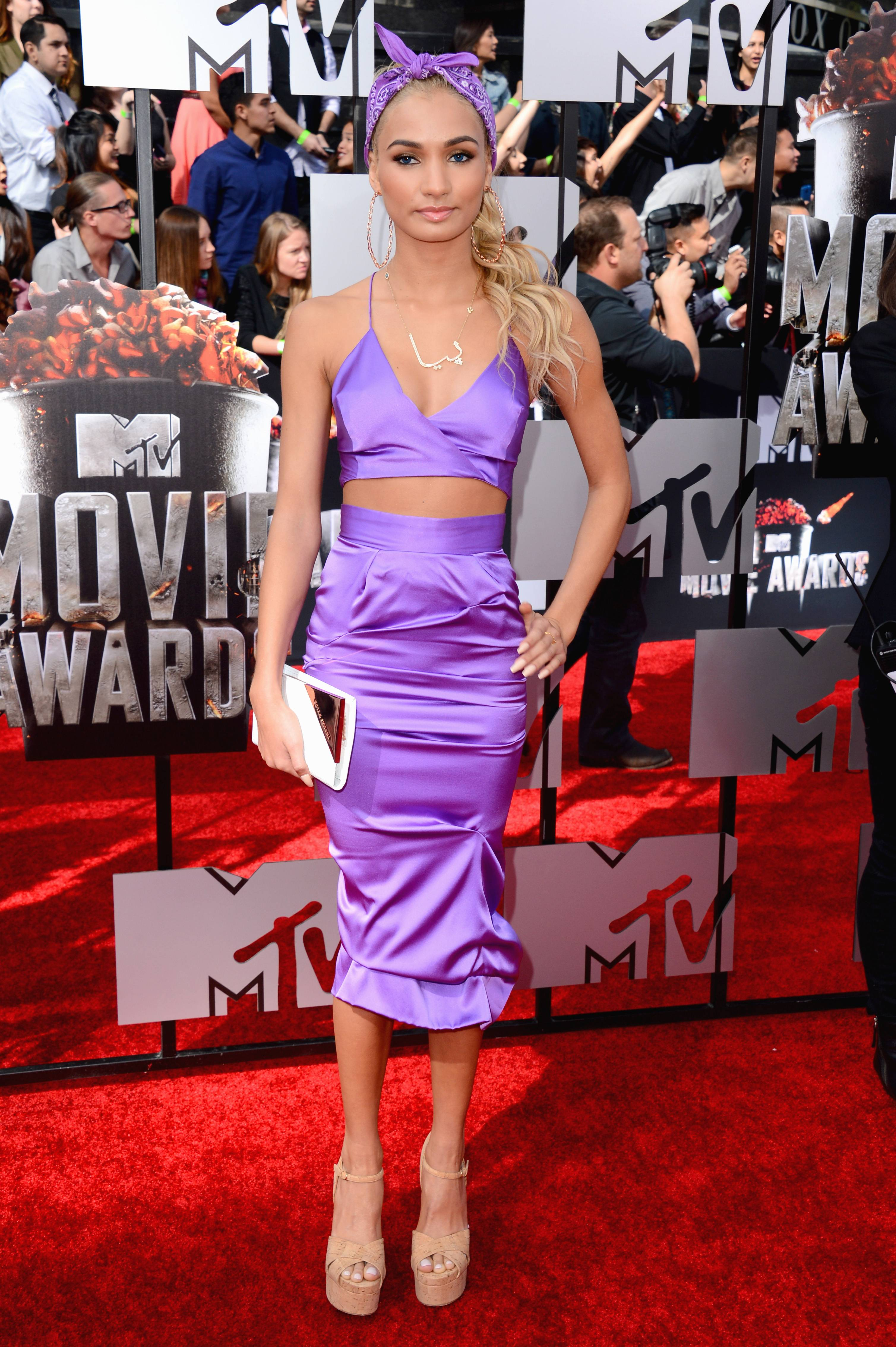 Pia Mia Perez arrives at the MTV Movie Awards on Sunday in Los Angeles.