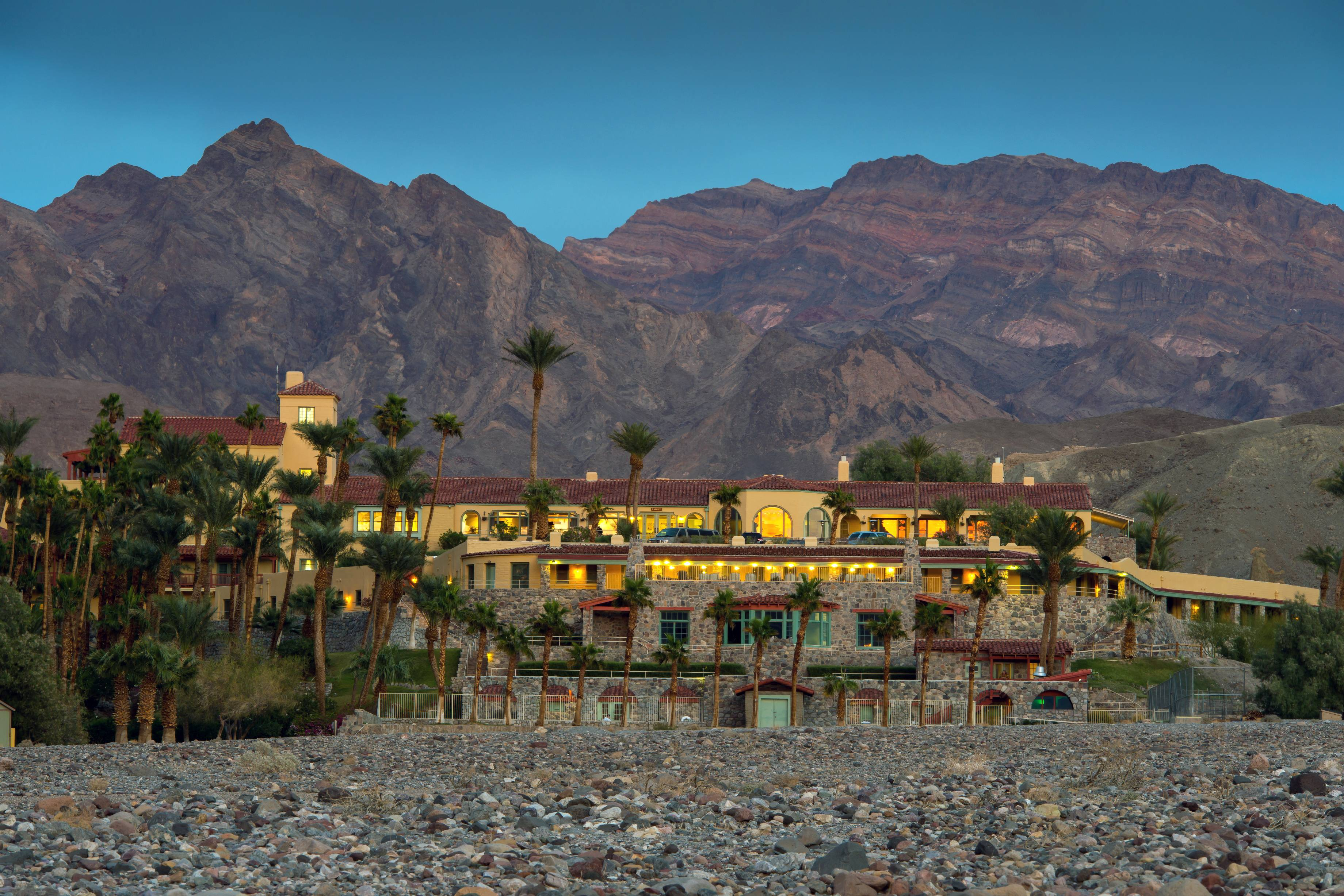 The Furnace Creek Inn, an upscale historic hotel, is typically closed during the hottest times of year, mid-May-October, while the Furnace Creek Ranch is open year-round.