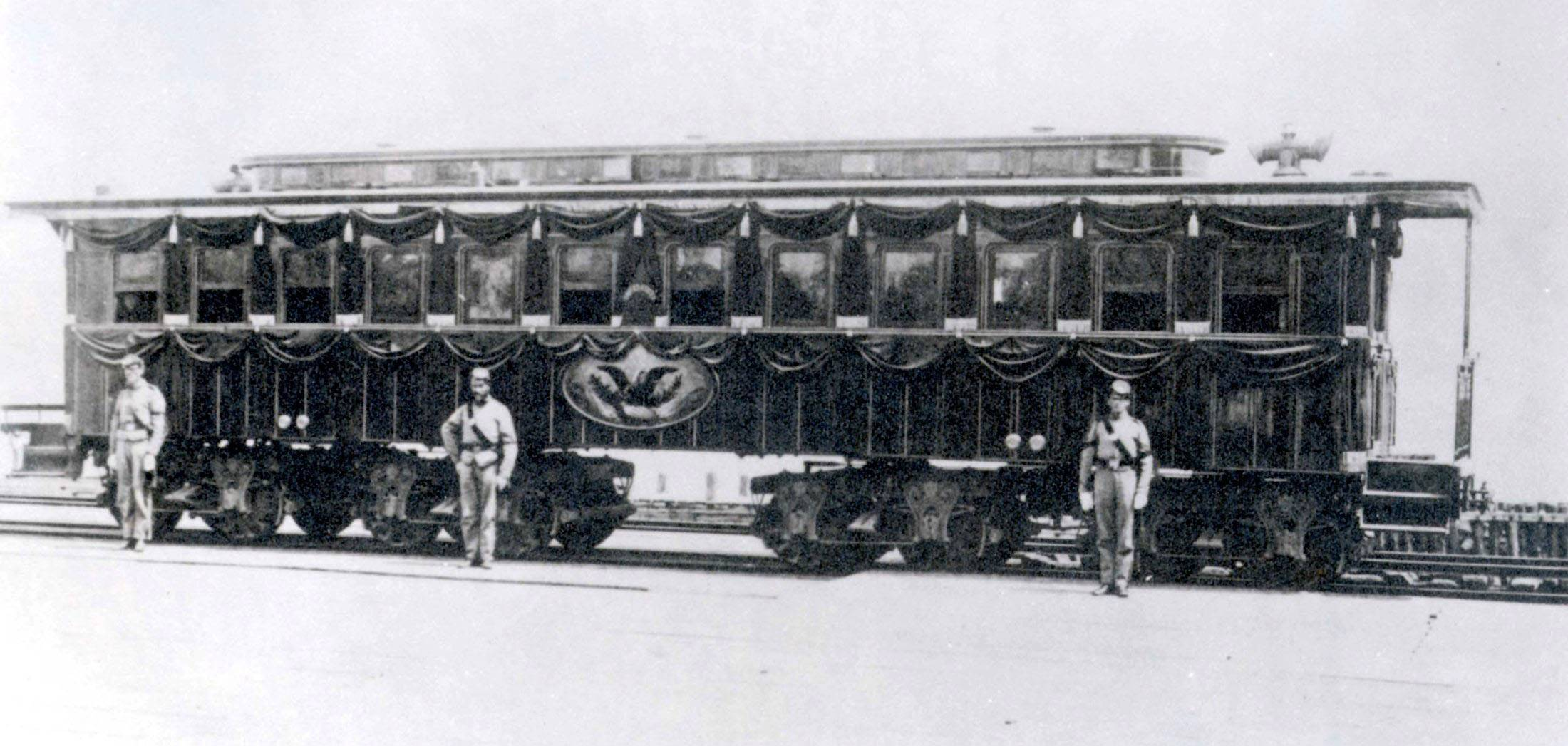 The funeral train that carried Abraham Lincoln's body across the country after his death in 1865 is shown in this undated photo. Master mechanic David Kloke of Bartlett, whose shop is in Elgin, is working on building a replica of the funeral train car.