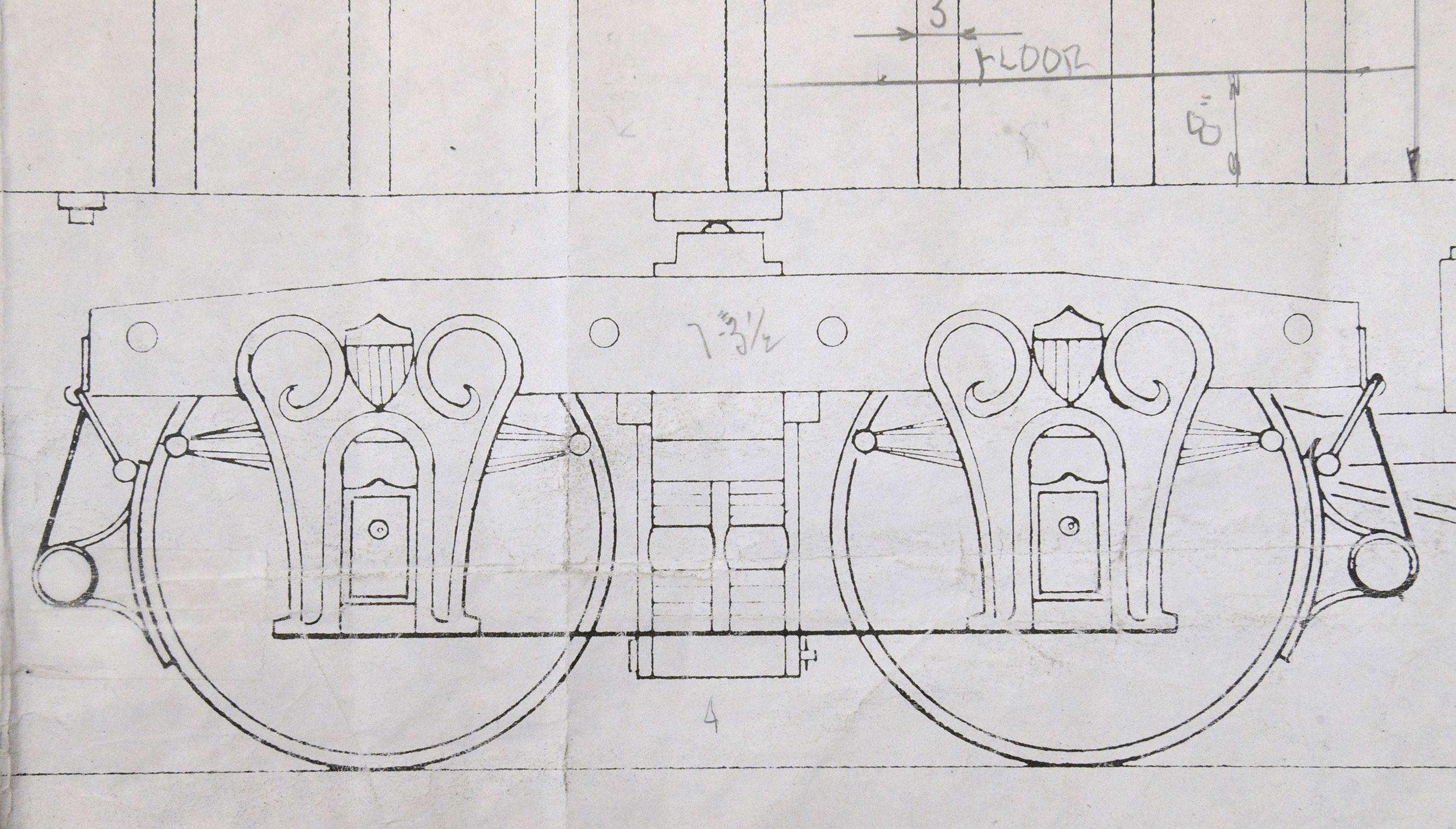 Blueprints of the Lincoln funeral train show the wheels, decorative pedestals and the hot boxes of one of the cars. David H. Kloke of Bartlett spent hours examining drawings before starting to built the car's replica in his Elgin shop.