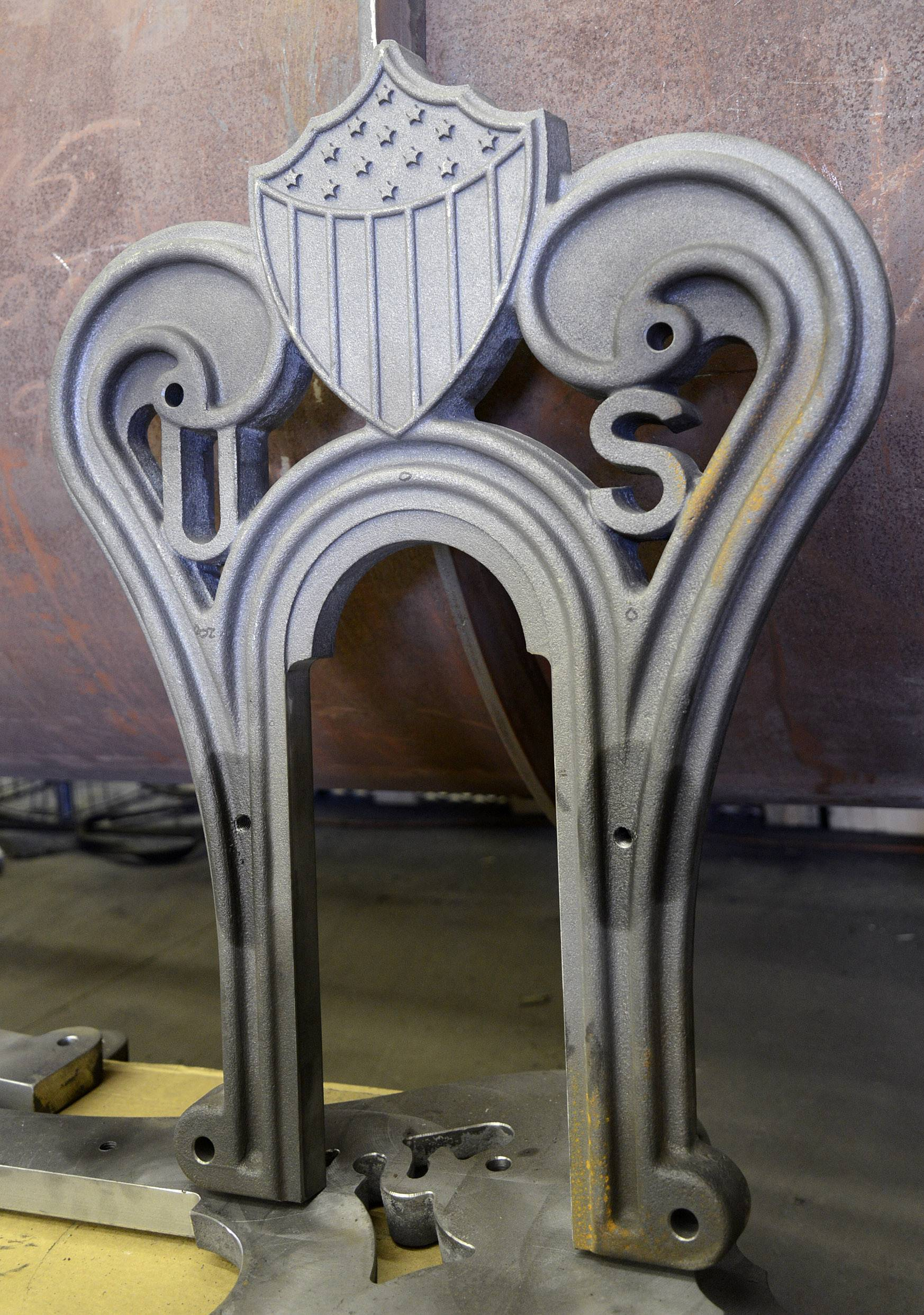 An exact replica of a Lincoln funeral car pedestal sits in David H. Kloke's shop in Elgin. Sixteen in all will be used and will be decoratively painted, following the original design.