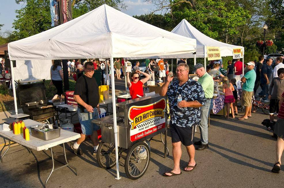 Many food booths or local restaurants participate in car shows and cruise nights. These vendors set up last year at the Barrington cruise.