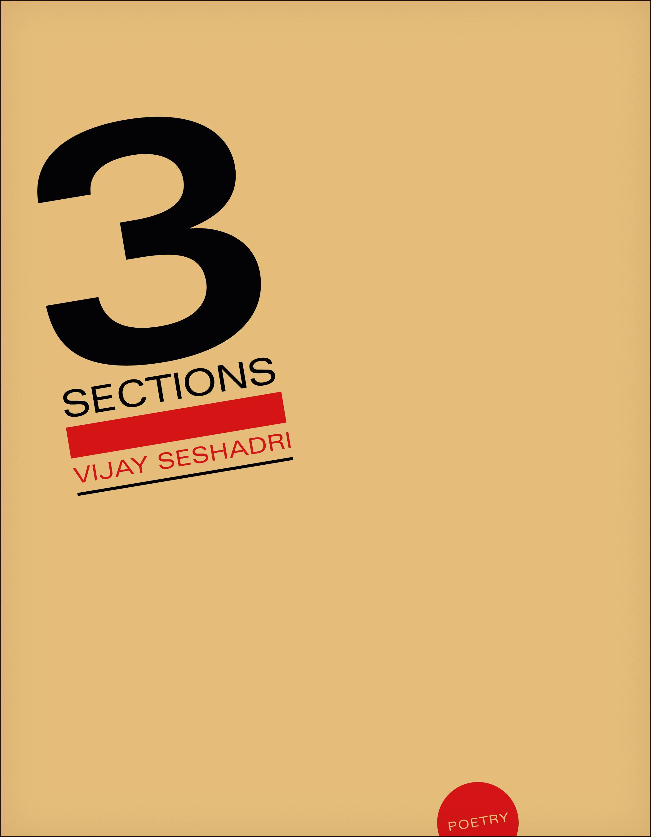"This cover image of ""3 Sections"" by Vijay Seshadri, which won the Pulitzer Prize for poetry."