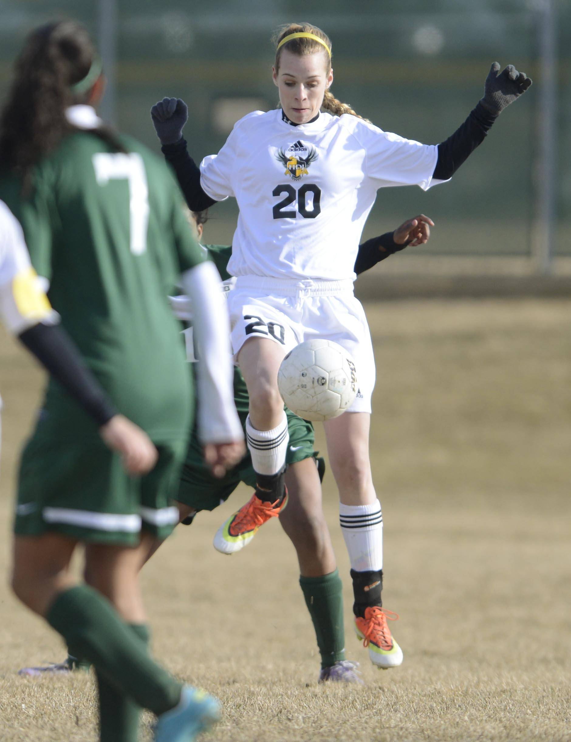 Jacobs' Heather Hoffmann controls the ball against Grayslake Central earlier this season.