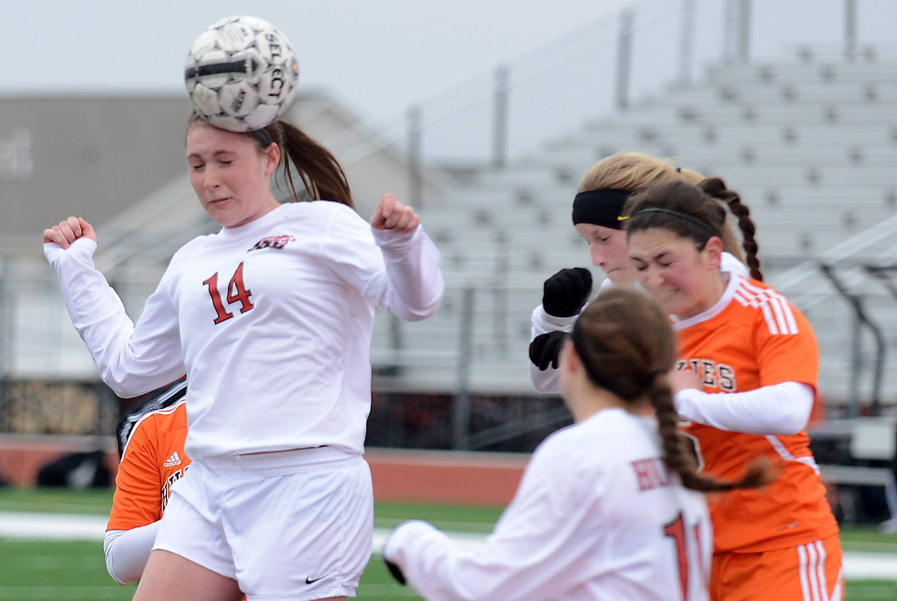 Huntley's Ali Sunter gets her head on a corner kick but it goes wide of the goal against Hersey earlier this season.