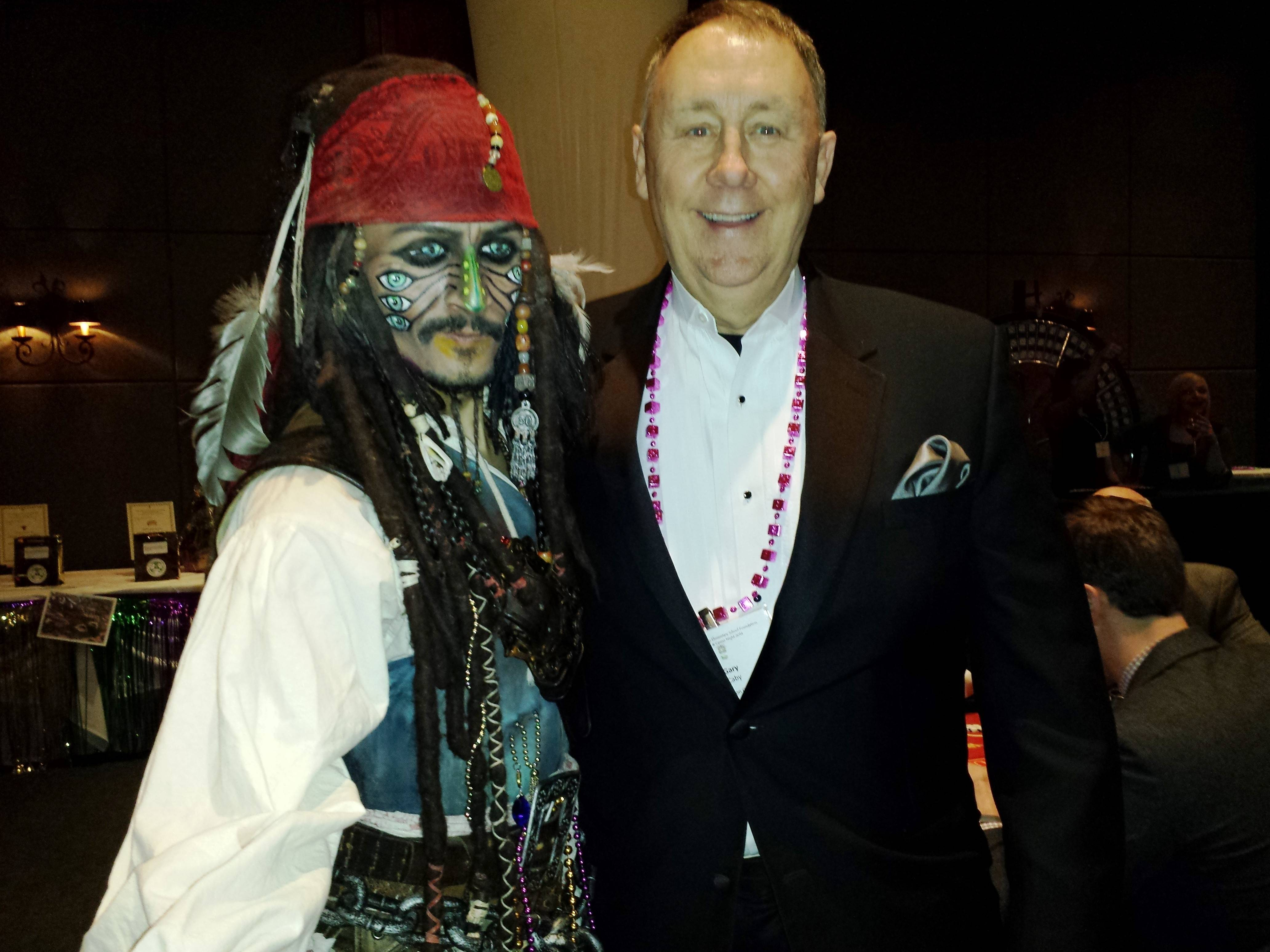 Schaumburg Township Elementary School Foundation chairman Gary Caby and Captain Jack Sparrow greet guests at the foundation's gala held Feb. 28.