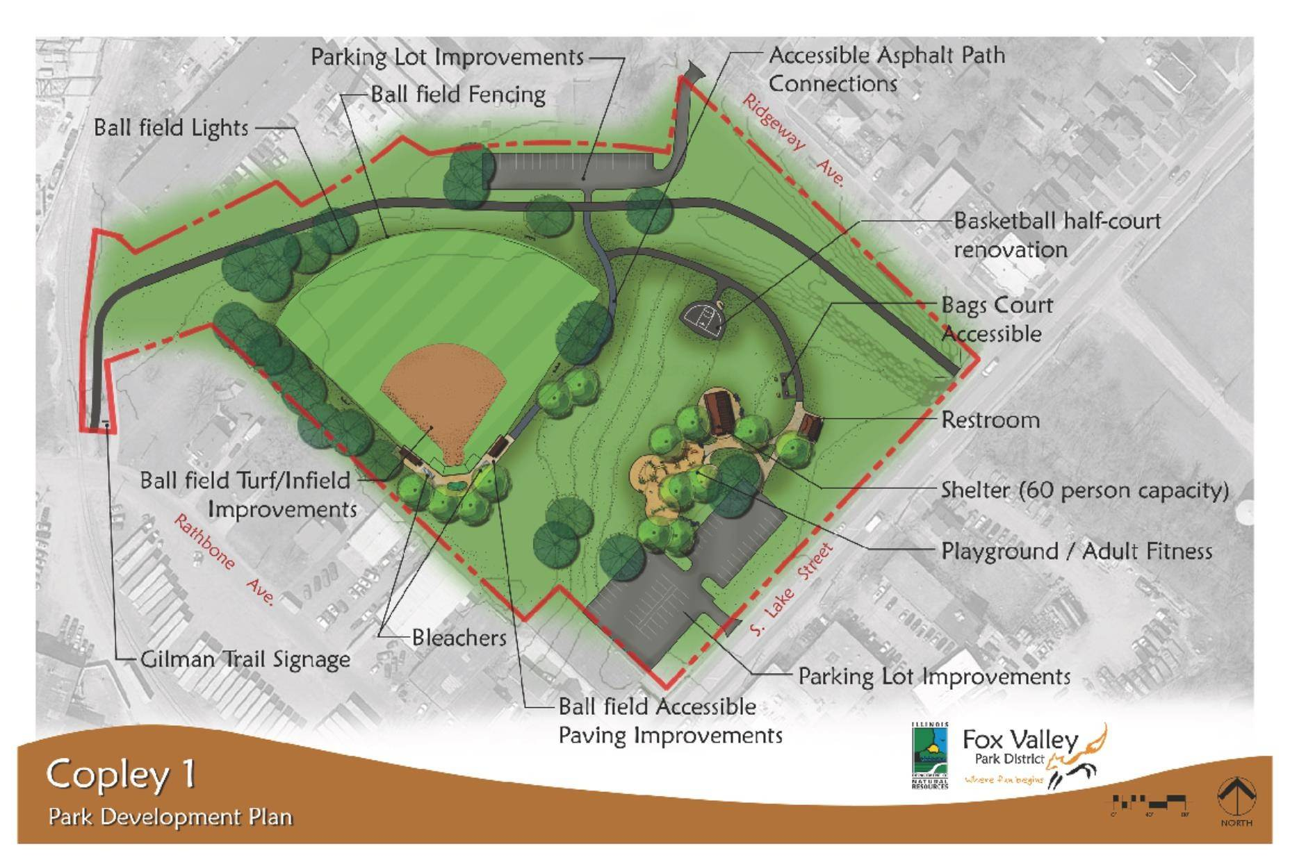 The Fox Valley Park District will use a $400,000 grant from the Illinois Department of Natural Resources to help fund redevelopment of Copley I Park near downtown Aurora.