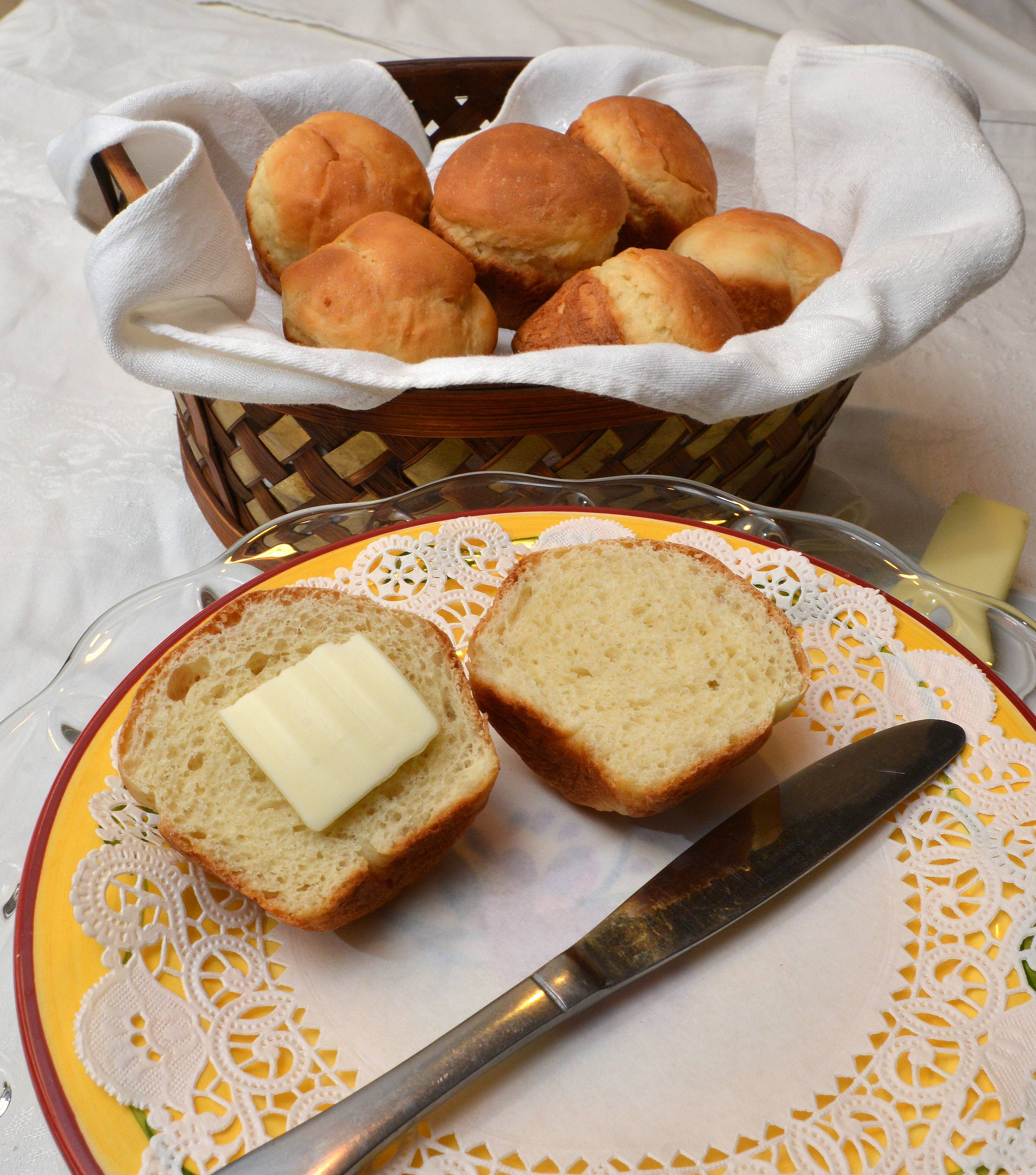Annie Overboe's Greek Dinner Rolls are lower in gluten than traditional dinner rolls; Greek yogurt gives them structure.