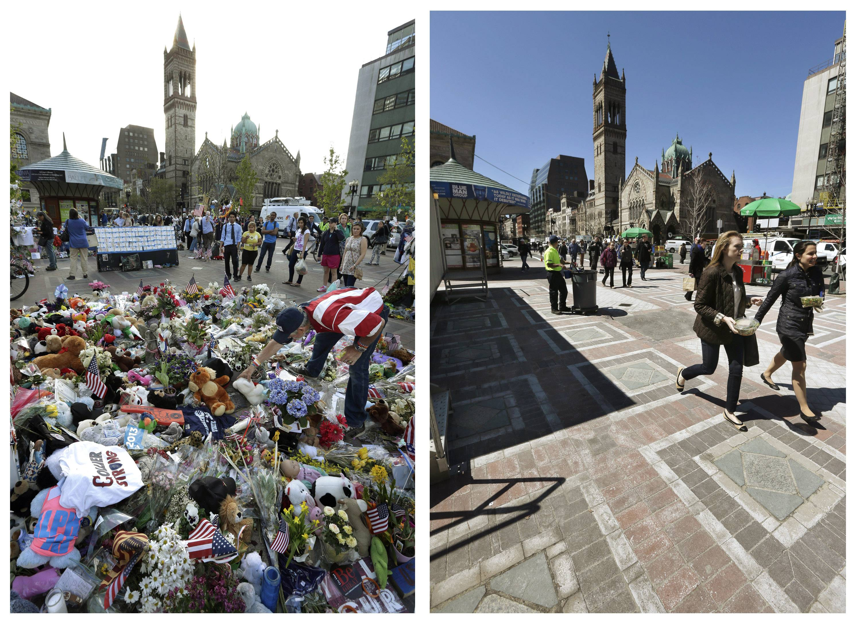 This combination of May 7, 2013 and April 10, 2014 photos shows Kevin Brown placing a Teddy bear at a makeshift memorial near the Boston Marathon finish line in Copley Square, and people walking through the same square at lunchtime nearly a year later in Boston.