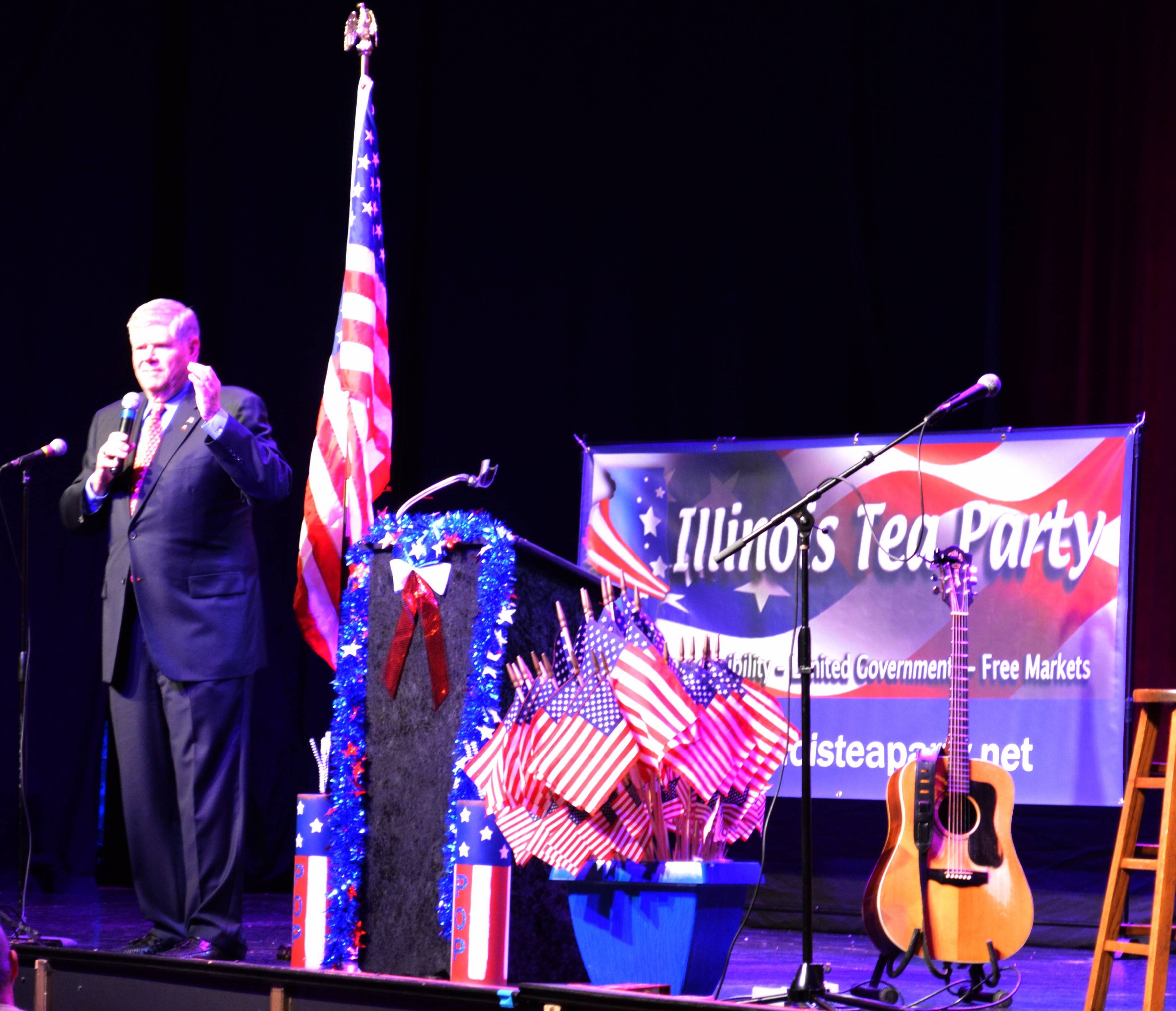 State Sen. Jim Oberweis rallied local Tea Party members to both take over the Illinois Republican Party and support him in his contest against Sen. Dick Durbin Tuesday night in St. Charles.