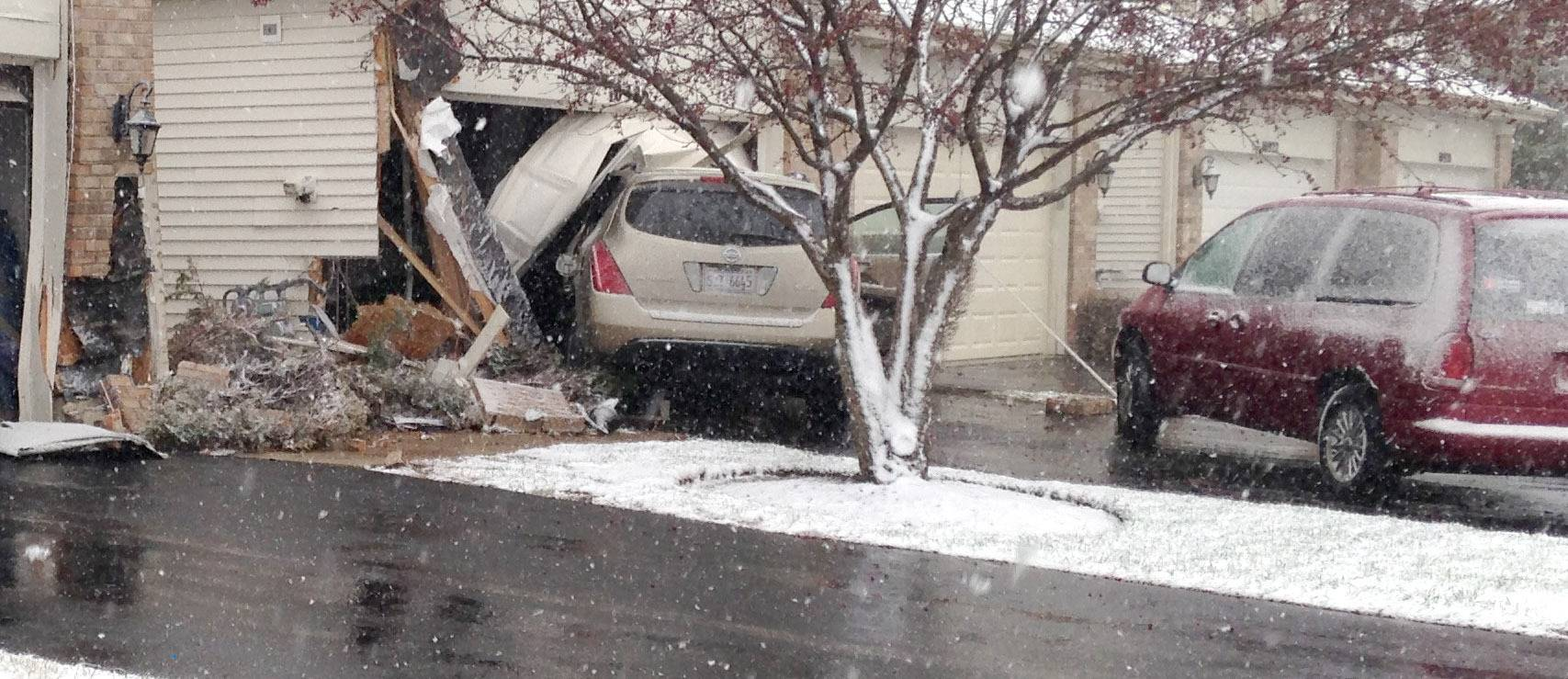 An SUV driven by an unlicensed Huntley teen crashed into two townhouses just before 4:45 p.m. Monday on the 10900 block of Cape Cod Lane, authorities said.