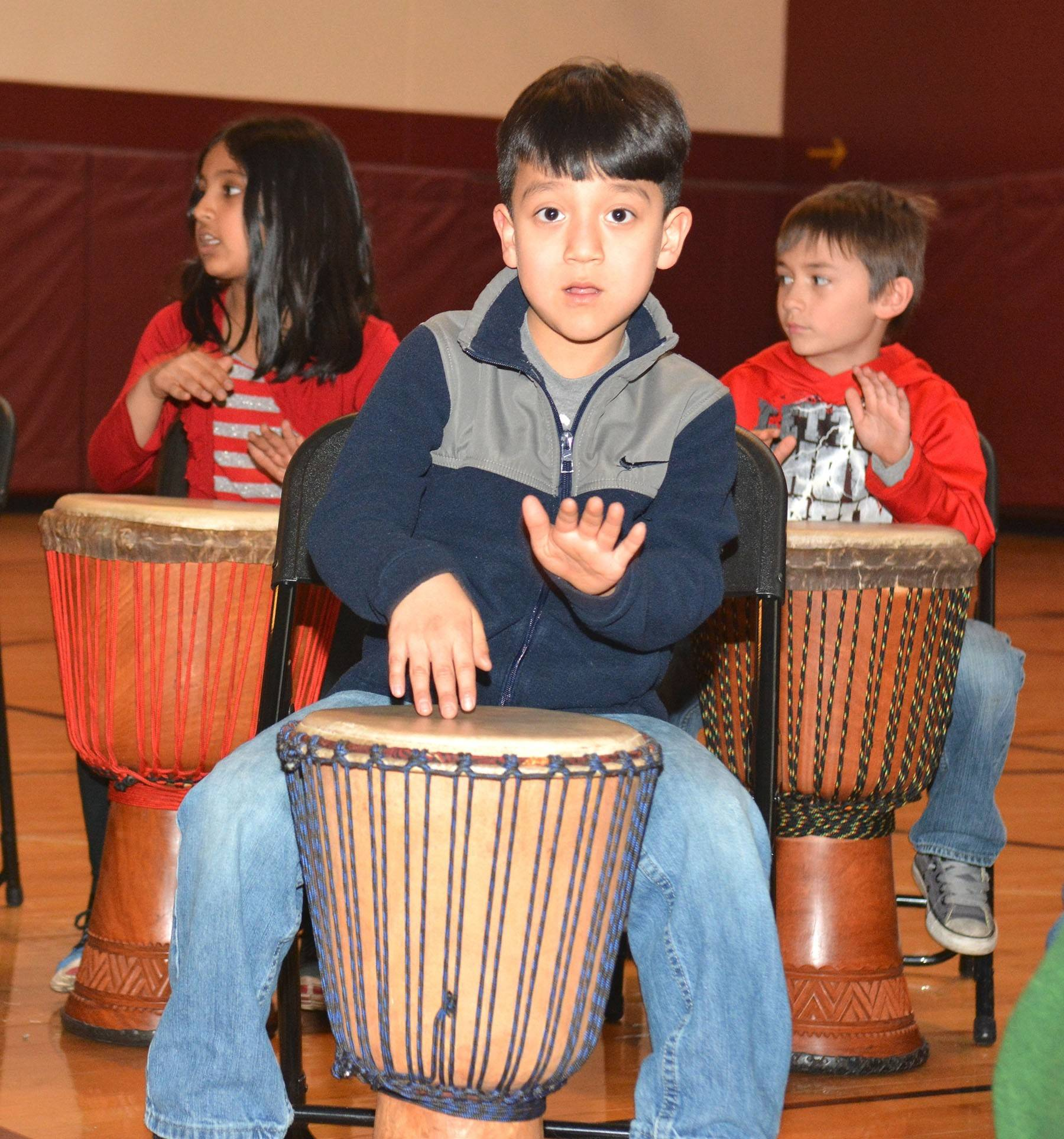 Anthony Guevera keeps the beat at Townline Elementary School, where 450 students in kindergarten through fifth grade have been learning the art of drumming in music class.
