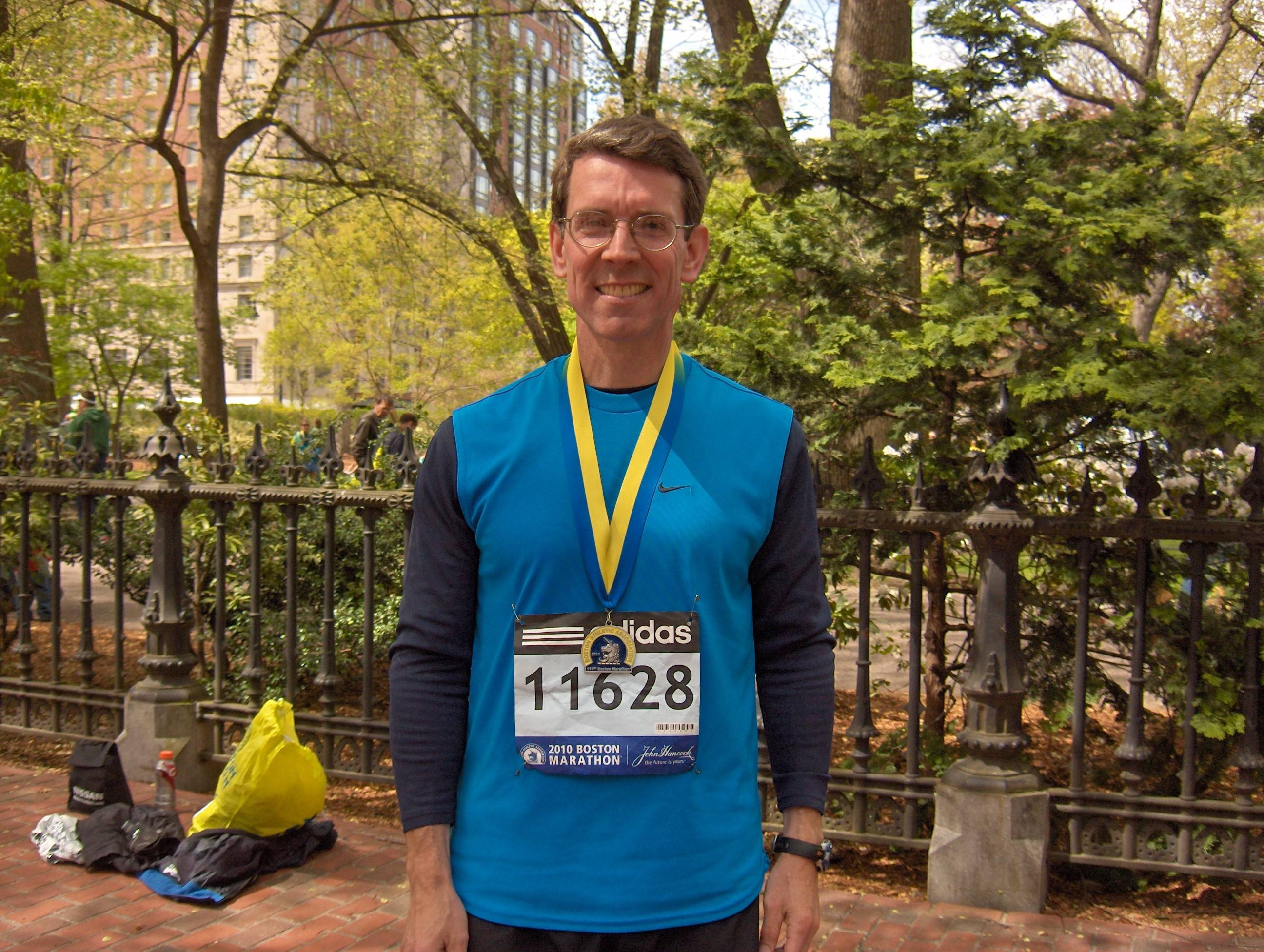 Arlington Heights Mayor Tom Hayes, shown after running the Boston Marathon in 2010, also ran the marathon during the bombing last year. He'll return to Boston for the marathon Monday.