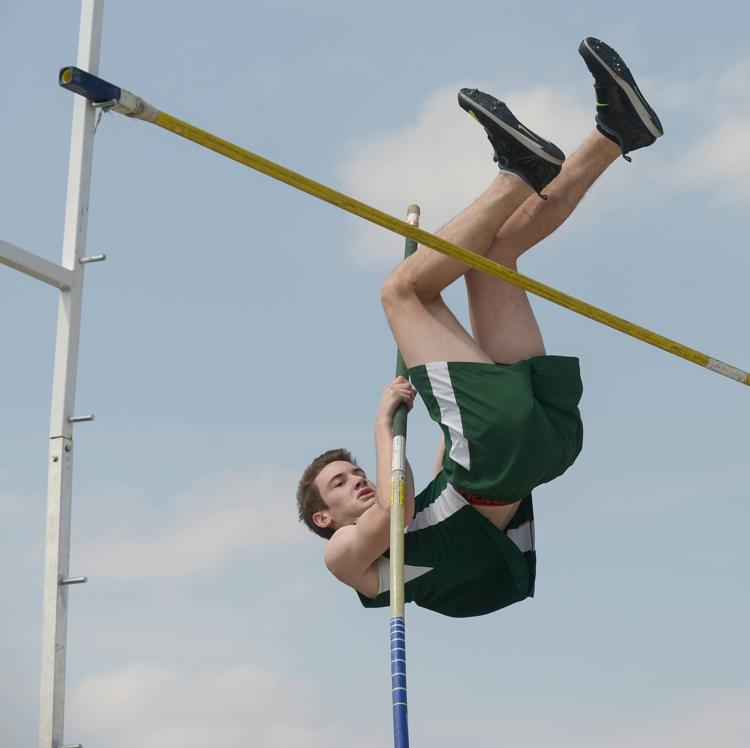 Glenbard West's Josh Cohn competes in the pole vault during Wheaton North's 29th Annual Best 4 Invite.