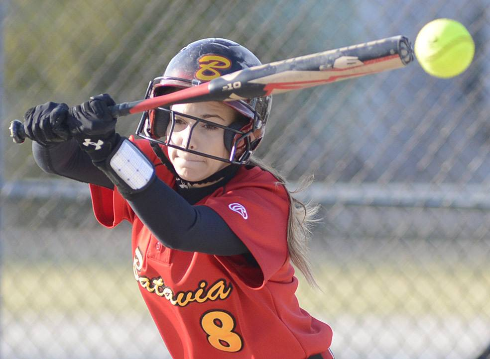 Batavia's Toni Galas swings at the ball during Wednesday's softball game against Neuqua Valley.