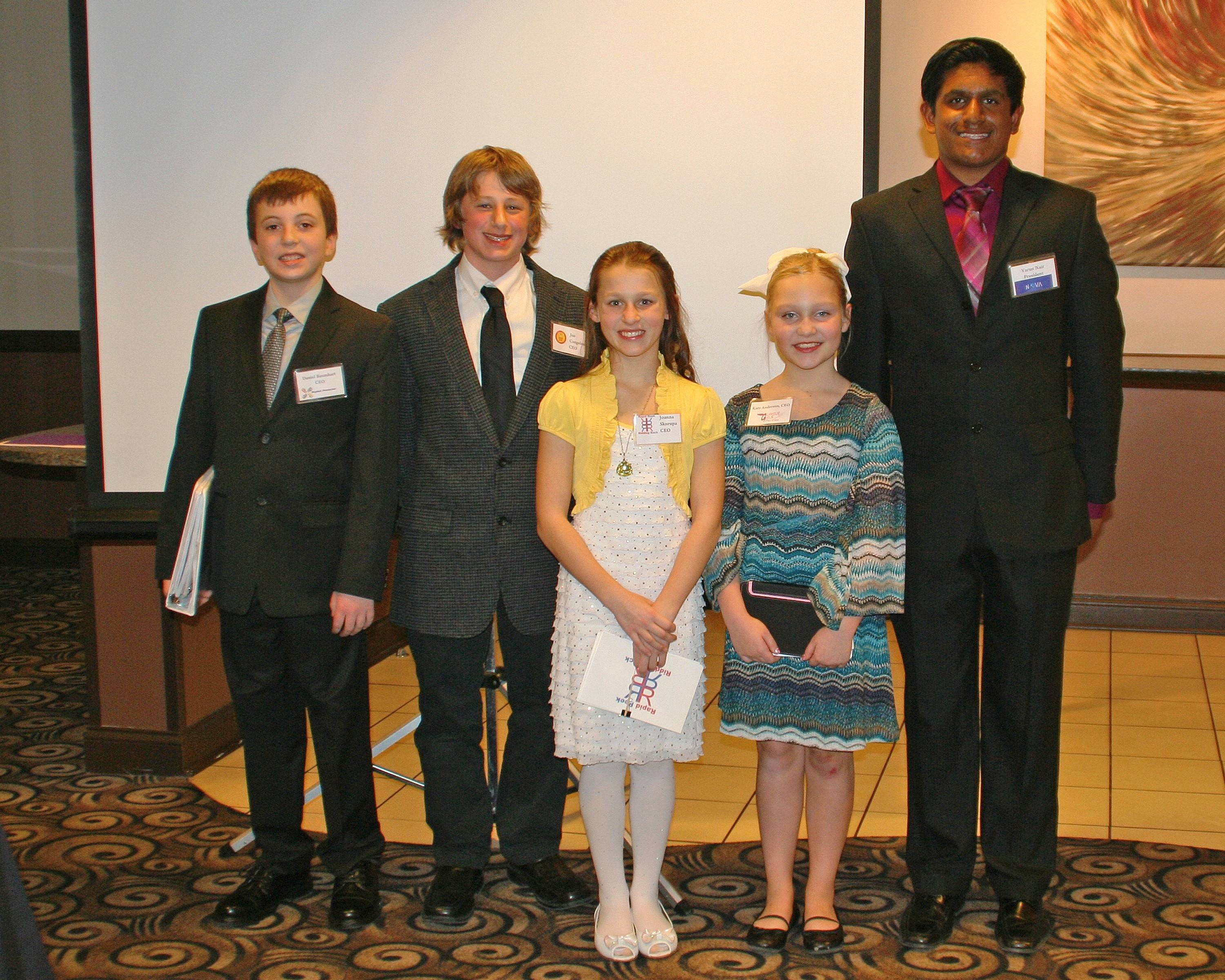 The Des Plaines Young Entrepreneur Academy presenters were Dan Baumhart, Stylish Protectors; Joe Cangelosi, Klay King; Joanna Skorupa, Rapid Reek Ridding Rack; Katie Anderson, Glamour Girls Parties; and Varun Nair, Nova Custom website Design.
