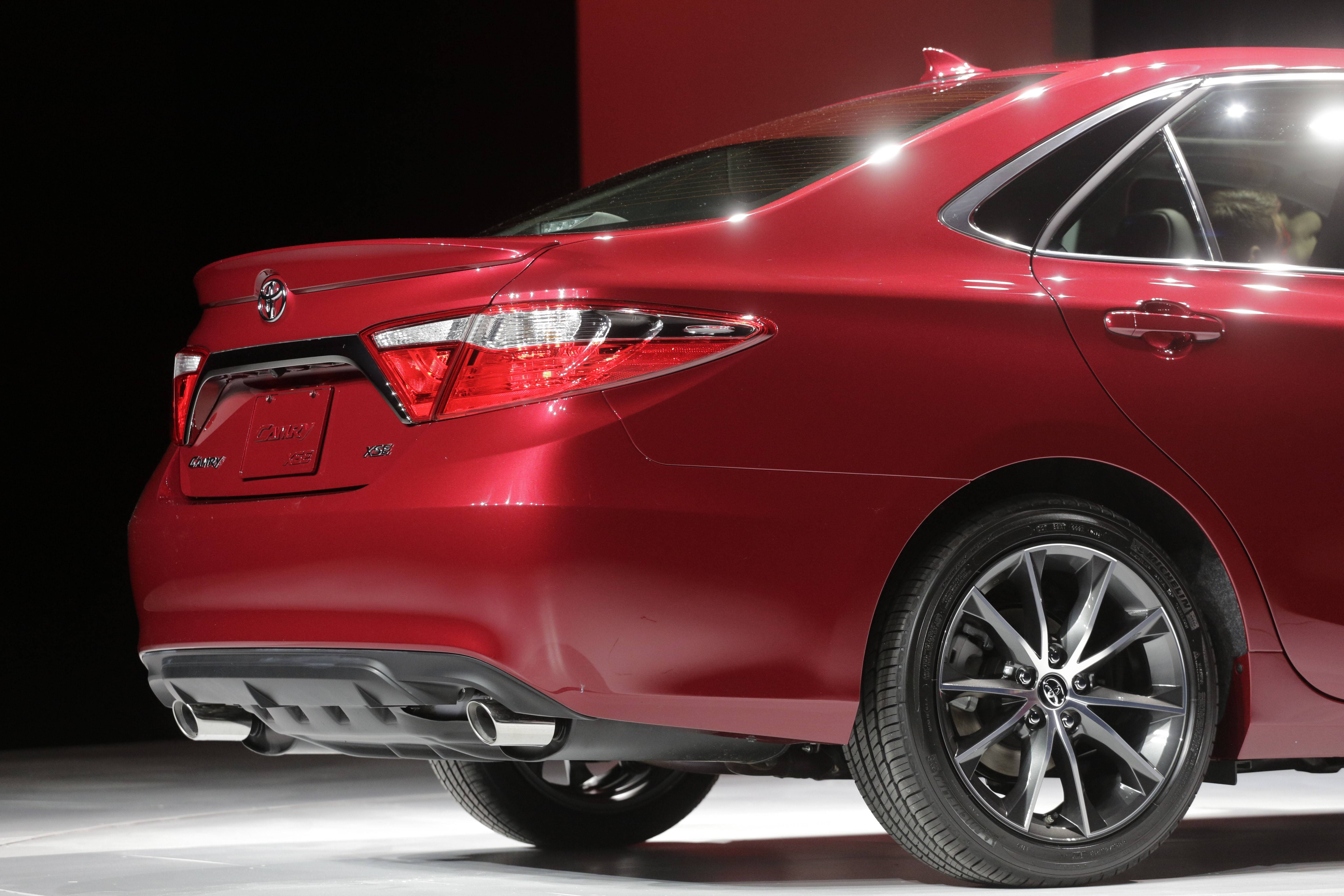 The rear of the 2015 Toyota Camry. Toyota says it changed every exterior piece but the roof.