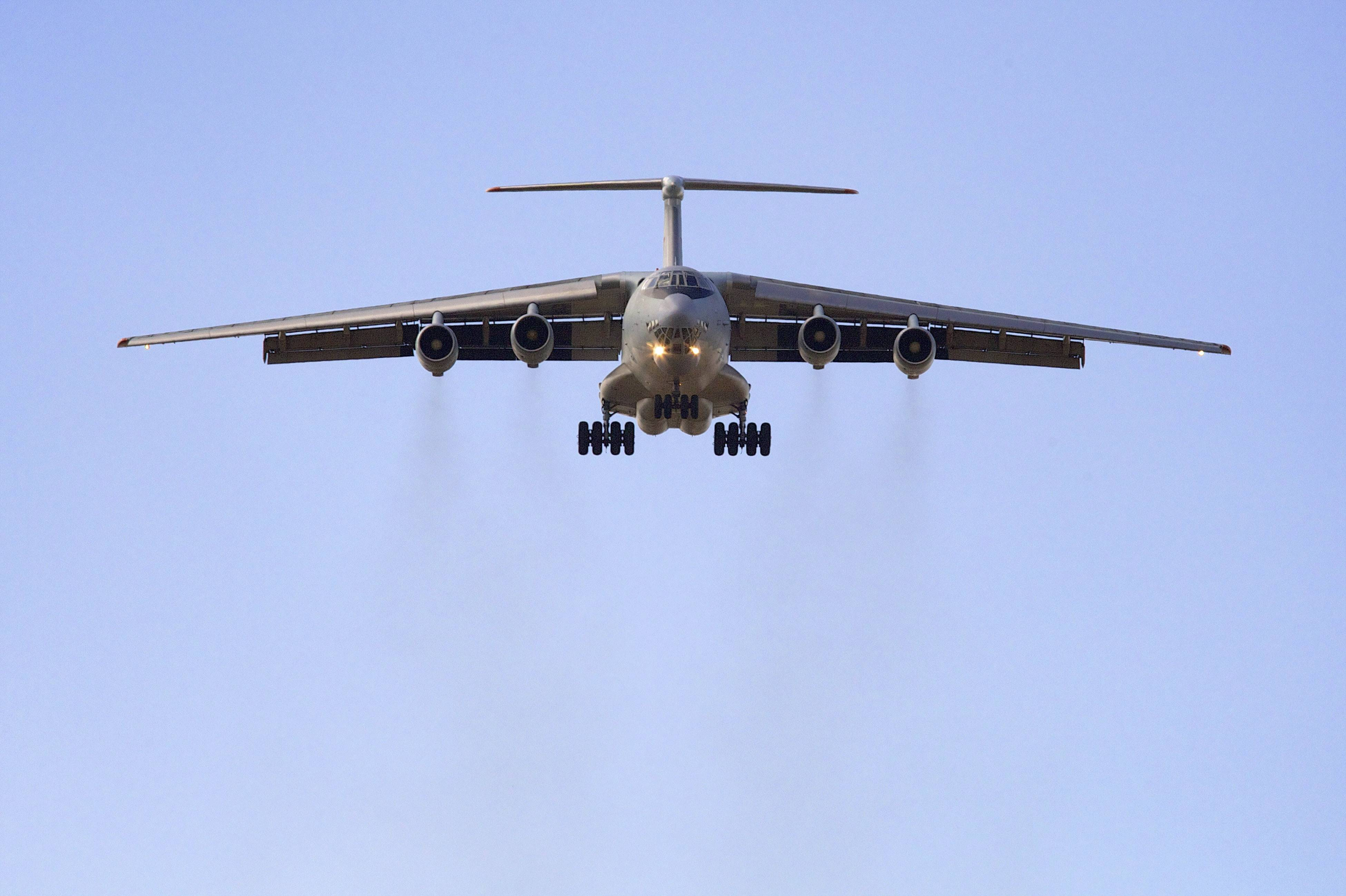 An Illyushin Il-76 prepares to land at Perth International Airport, Australia, after a search mission Wednesday trying to locate the missing Malaysia Airlines Flight 370.