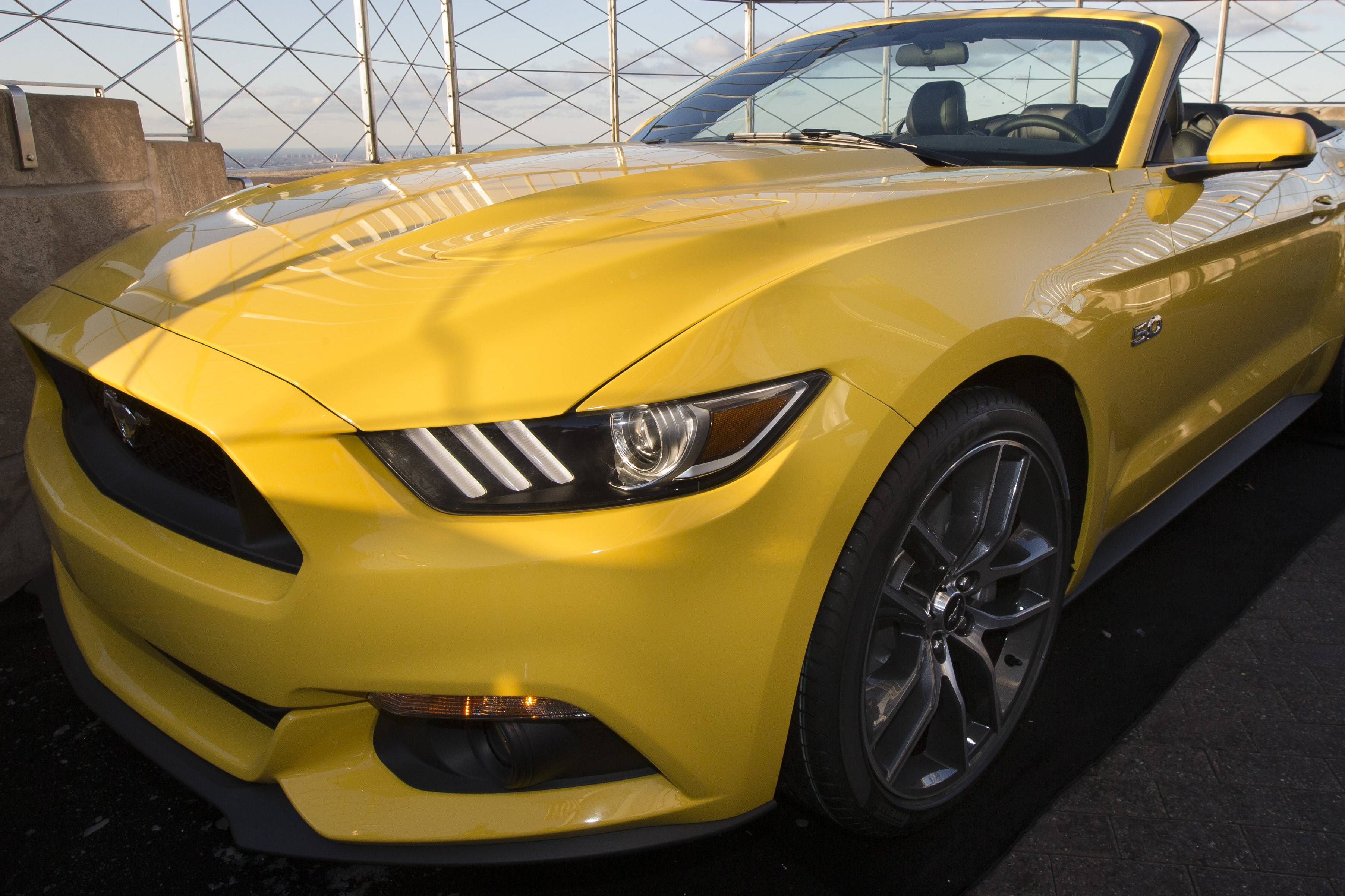 Ford Motor Company introduces the 2015 Mustang convertible on the 86th floor observation deck of the Empire State Building. It's the first time a car has been there since 1965, when Ford put a Mustang convertible there.