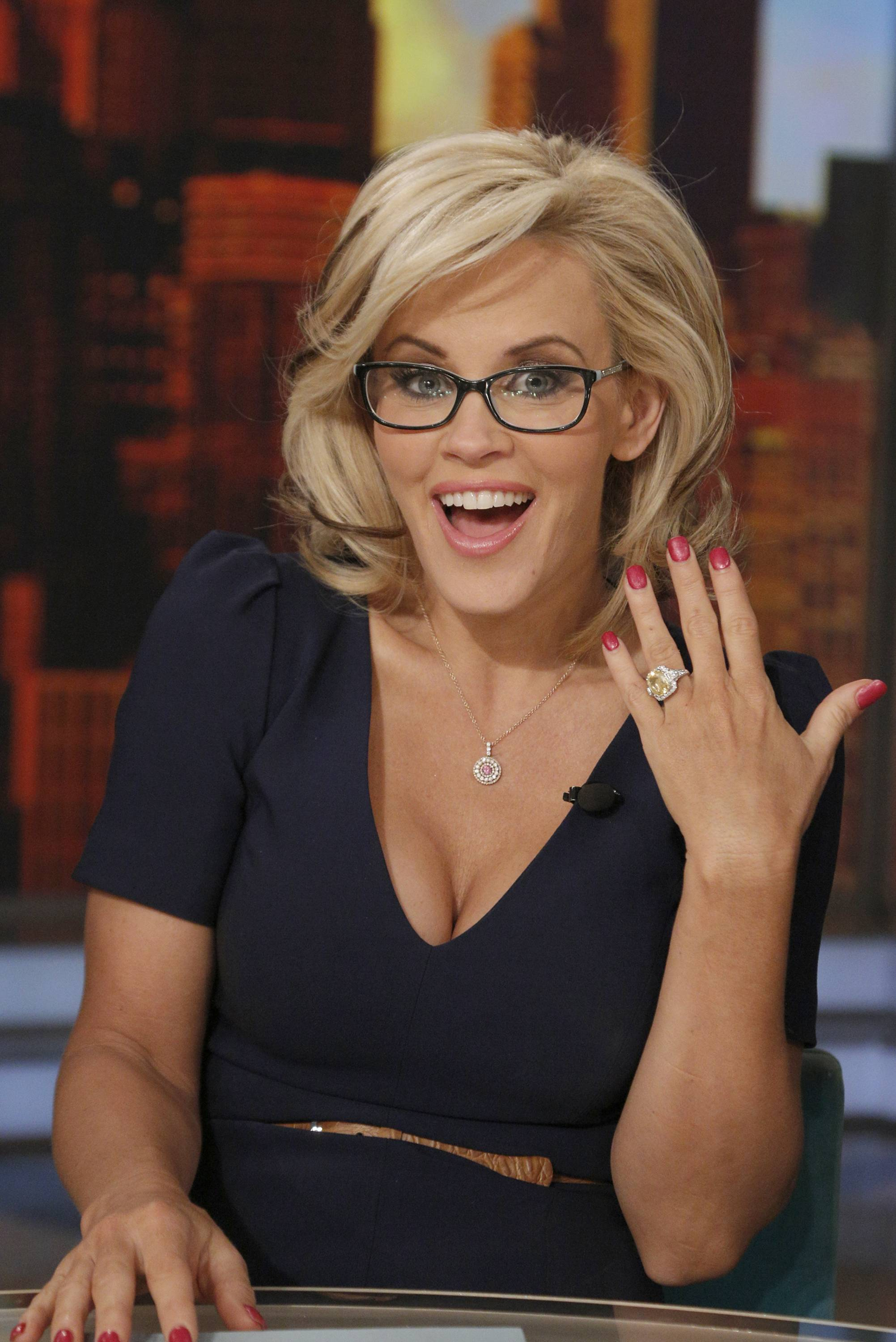 "Co-host Jenny McCarthy shows off her ring after she announced her engagement to fiance Donnie Wahlberg on the daytime series ""The View"" Wednesday."