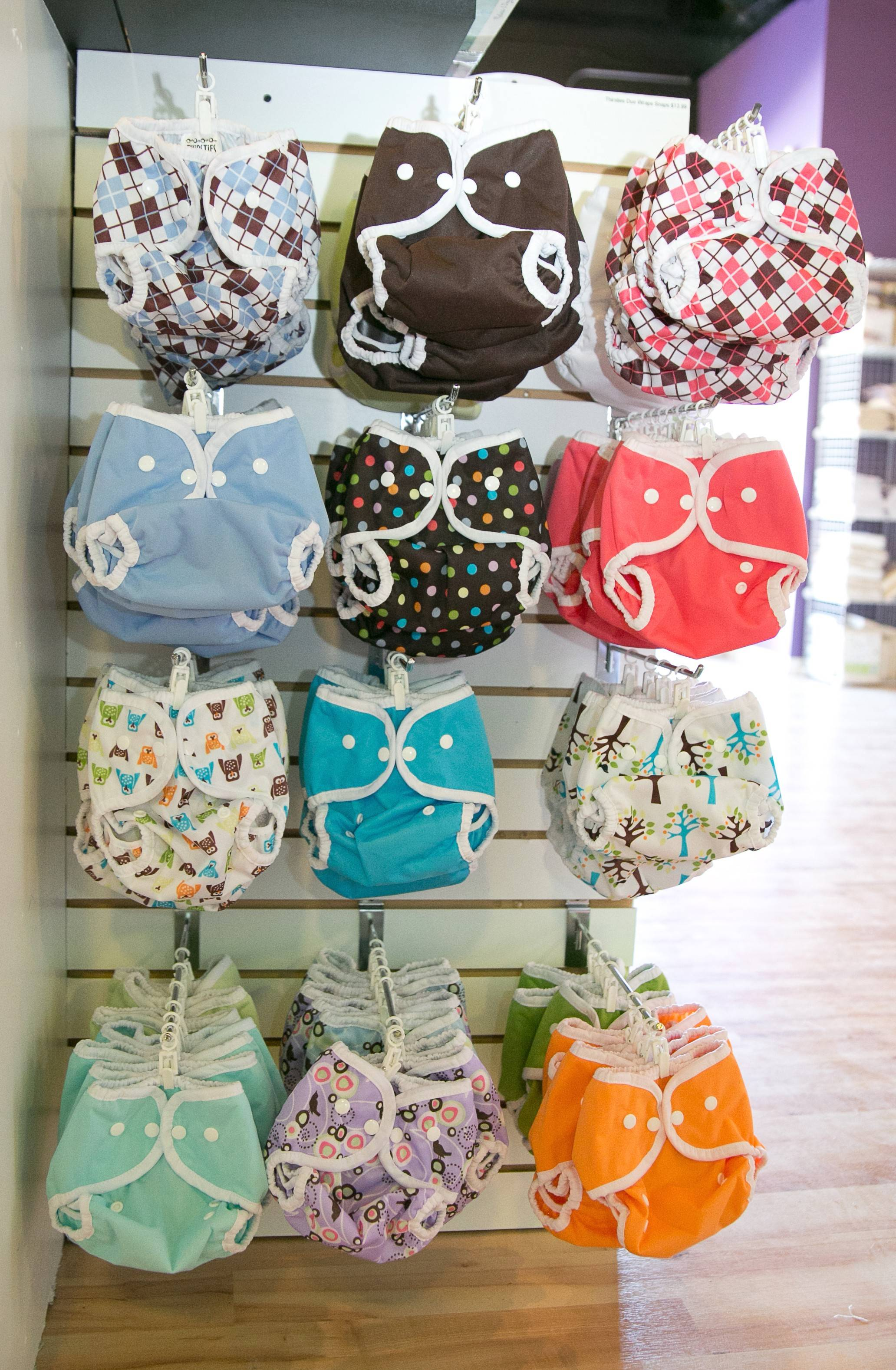 Cloth diapers comes in all sorts of designs at Fluff Envy in South Elgin.