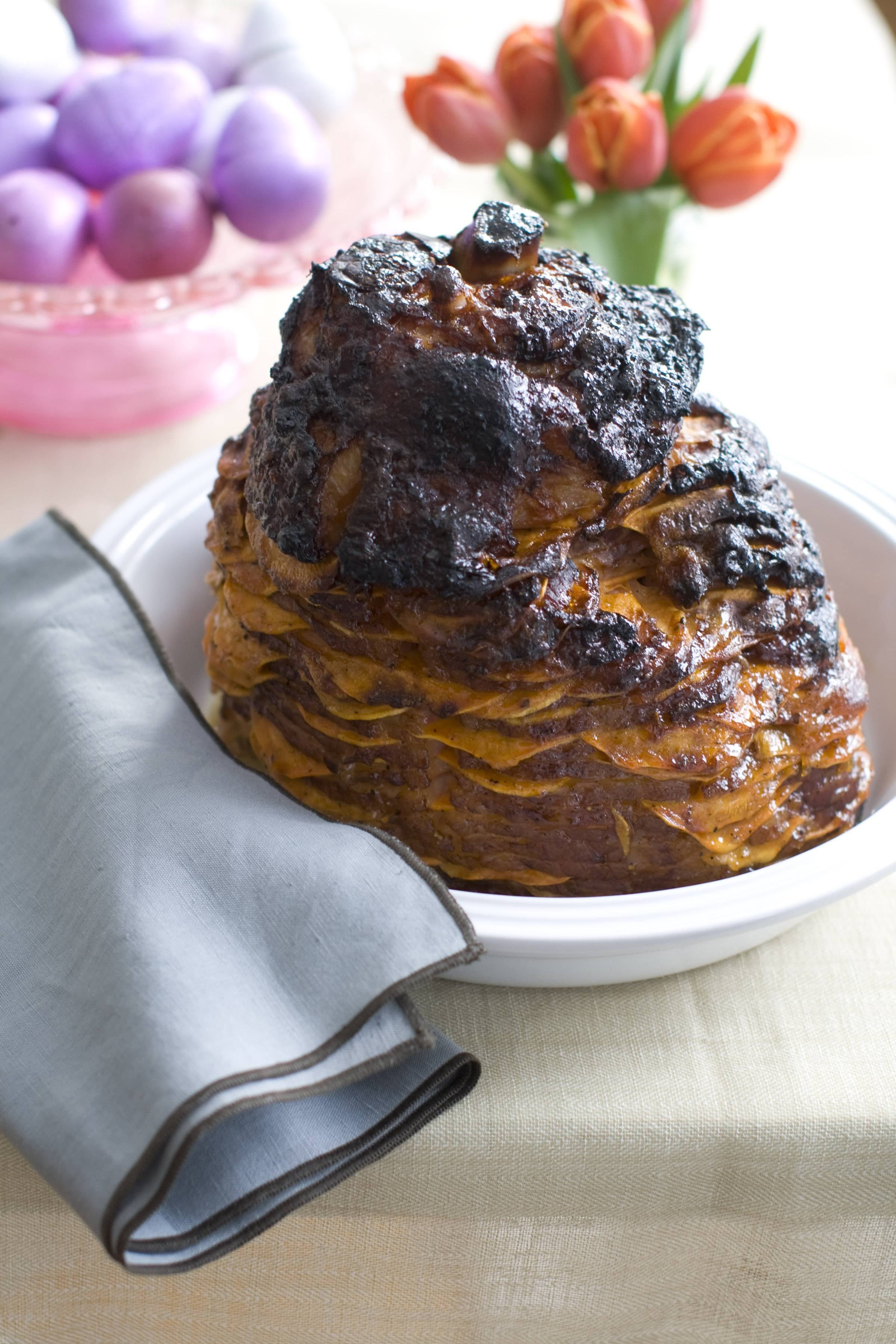 Sweet potato-stuffed spiral ham is a beautiful and delicious way to celebrate Easter.