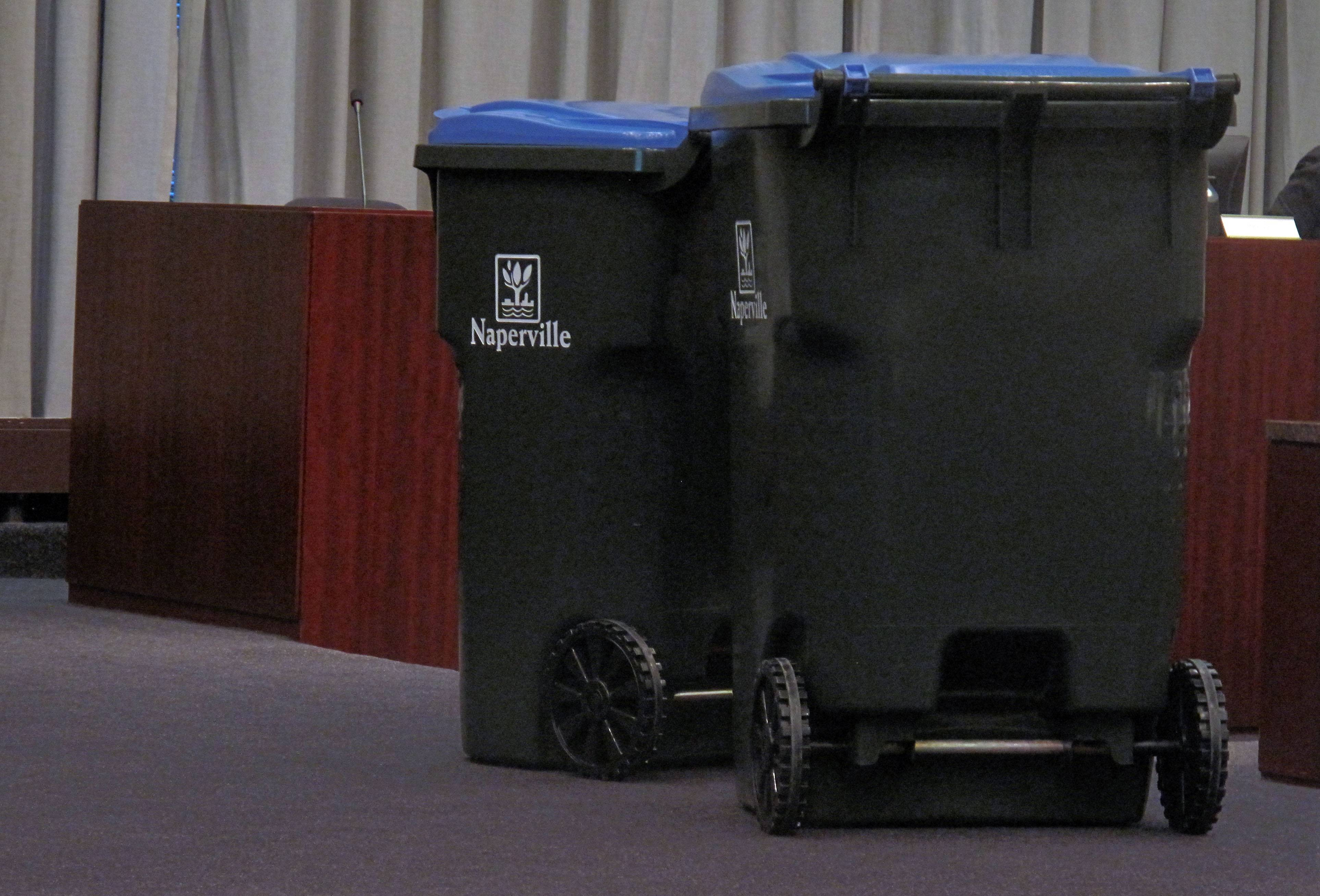 Naperville City Council on Tuesday night approved a $1.8 million contract for the purchase of recycling carts to be delivered this summer. Residents will be able to choose one of three sizes of carts: 32-gallon, 65-gallon, left, or 95-gallon, right.