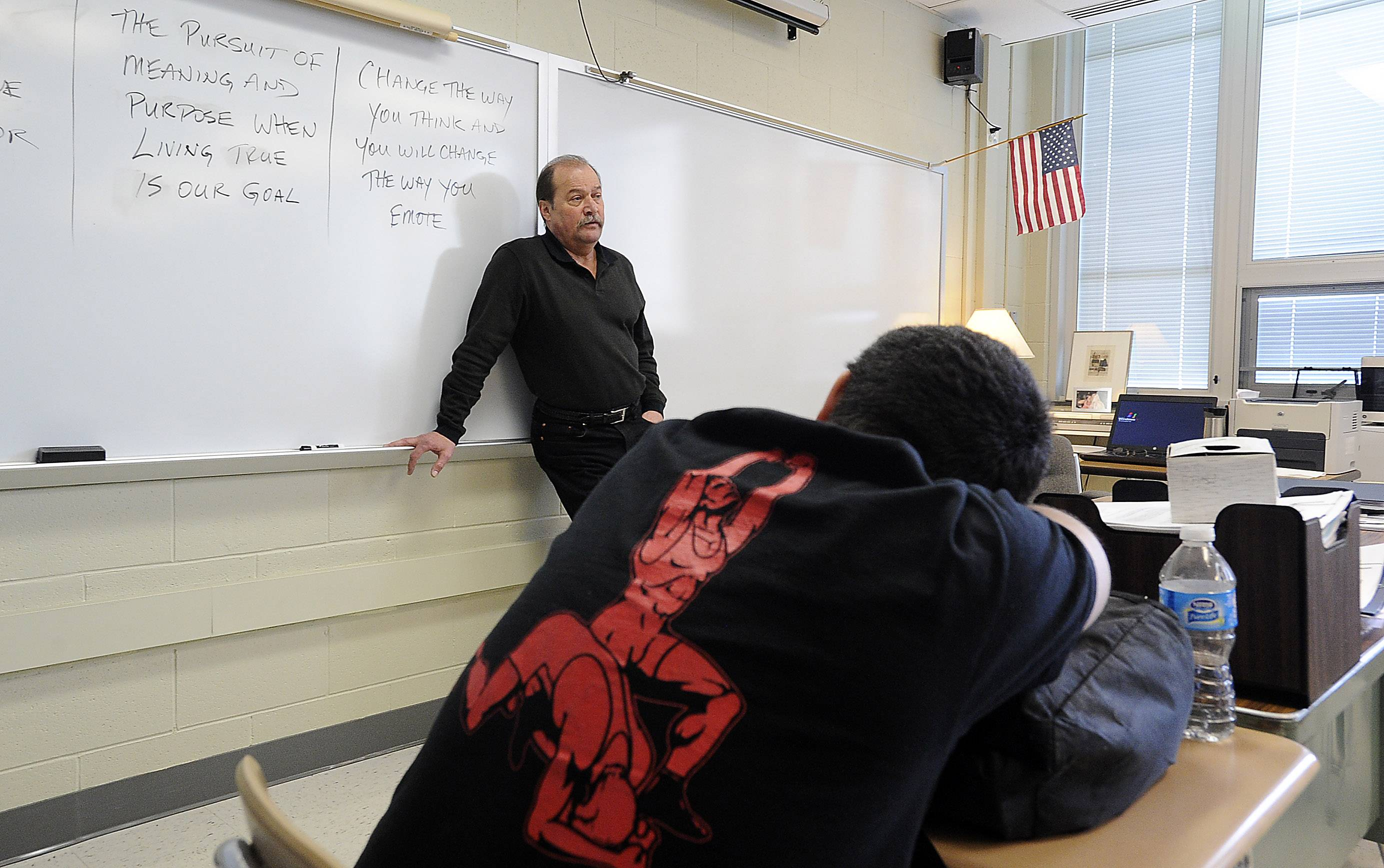 Bill Palmer teaches students the importance of finding meaning and purpose in their lives during a resource class at Barrington High School.