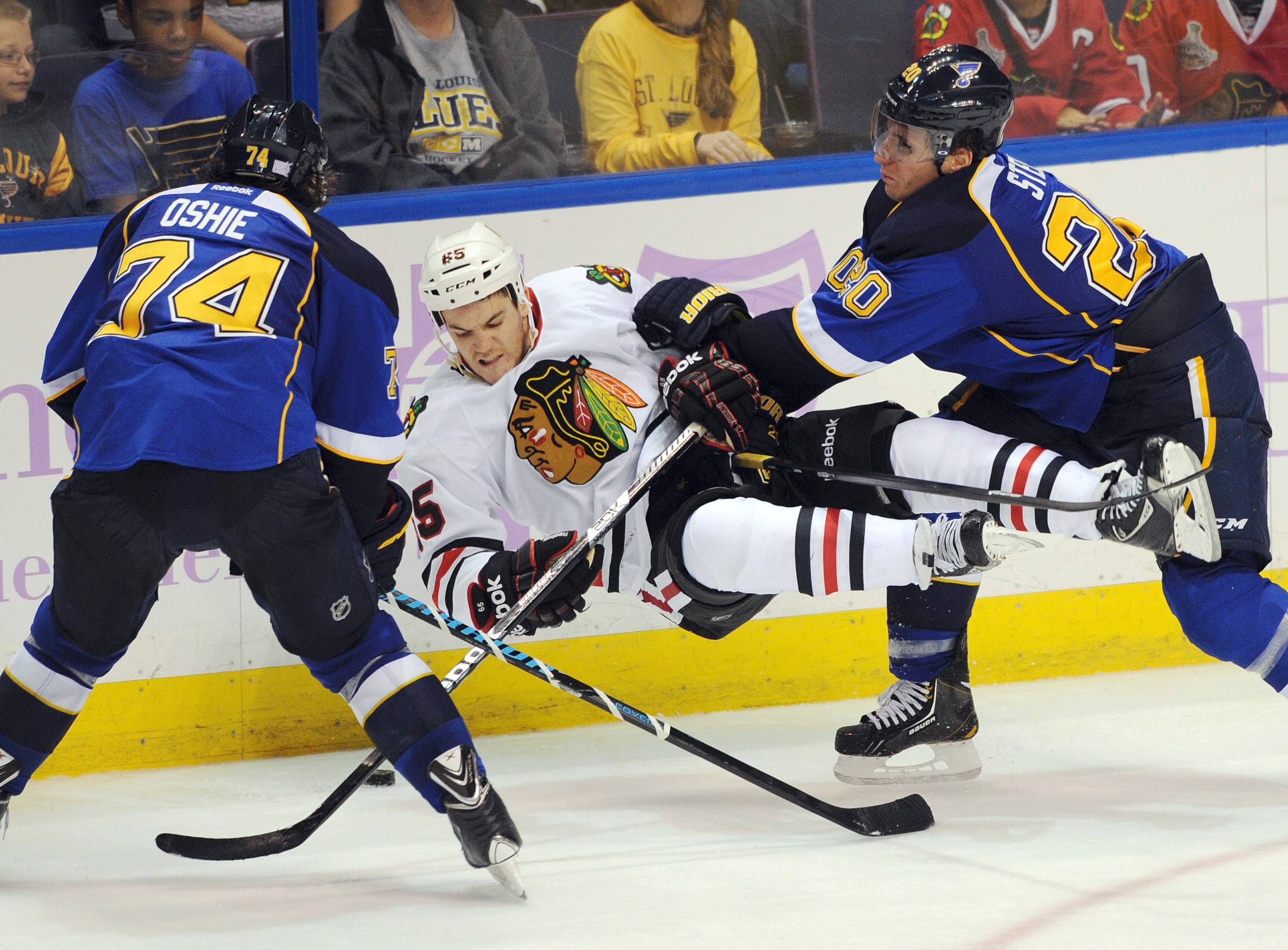 When the St. Louis Blues and the Chicago Blackhawks get together on the ice, it's always a physical game, as Andrew Shaw can attest from their Oct. 9, 2013, game in St. Louis.