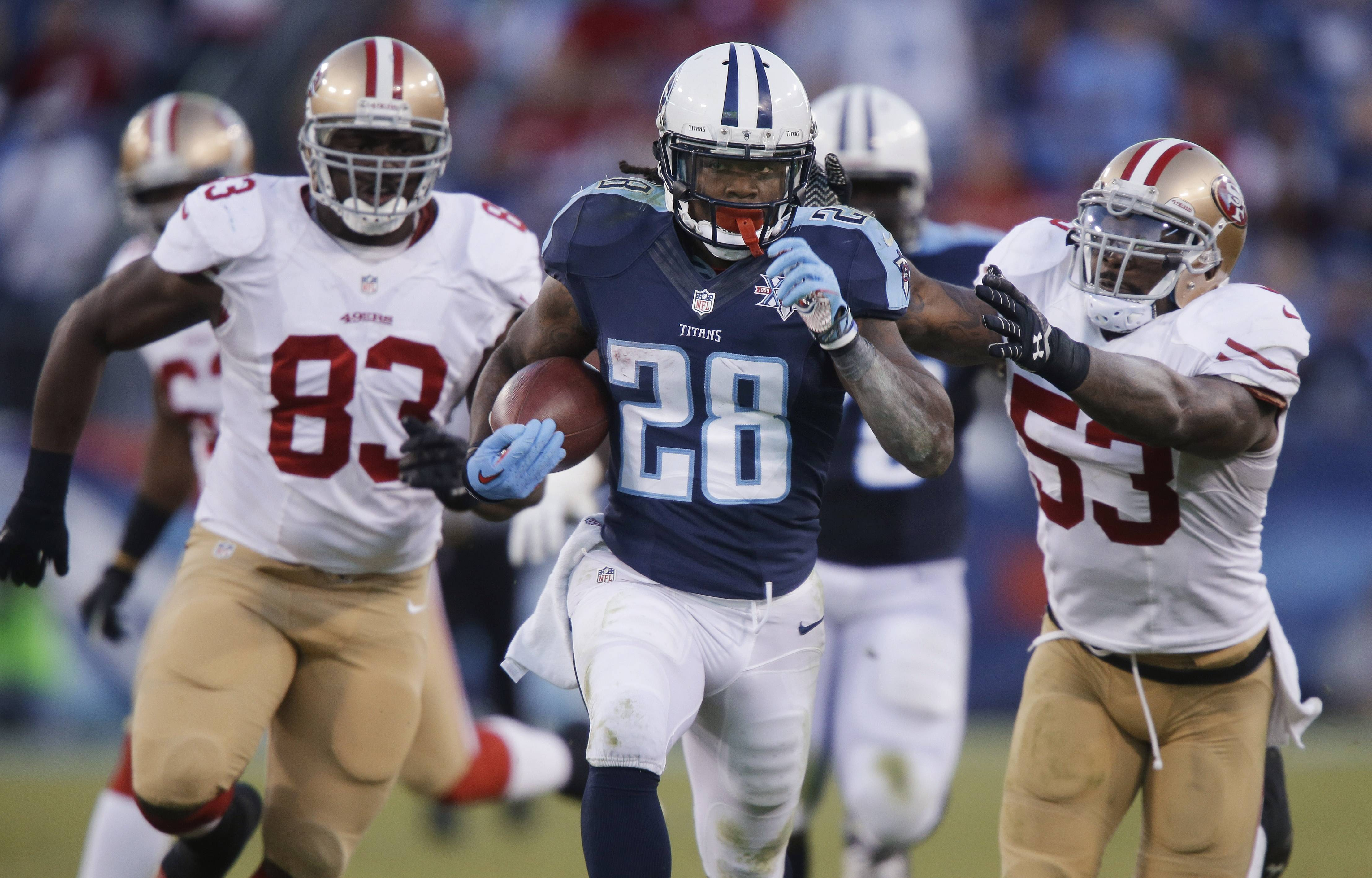 FILE - In this Oct. 20, 2013, file photo, Tennessee Titans running back Chris Johnson (28) runs ahead of San Francisco 49ers defenders Demarcus Dobbs (83) and NaVorro Bowman (53) on a touchdown reception in an NFL football game in Nashville, Tenn.  The New York Jets signed the former Titans running back Wednesday, April 16, a little over a week after he was officially released by Tennessee on April 7.