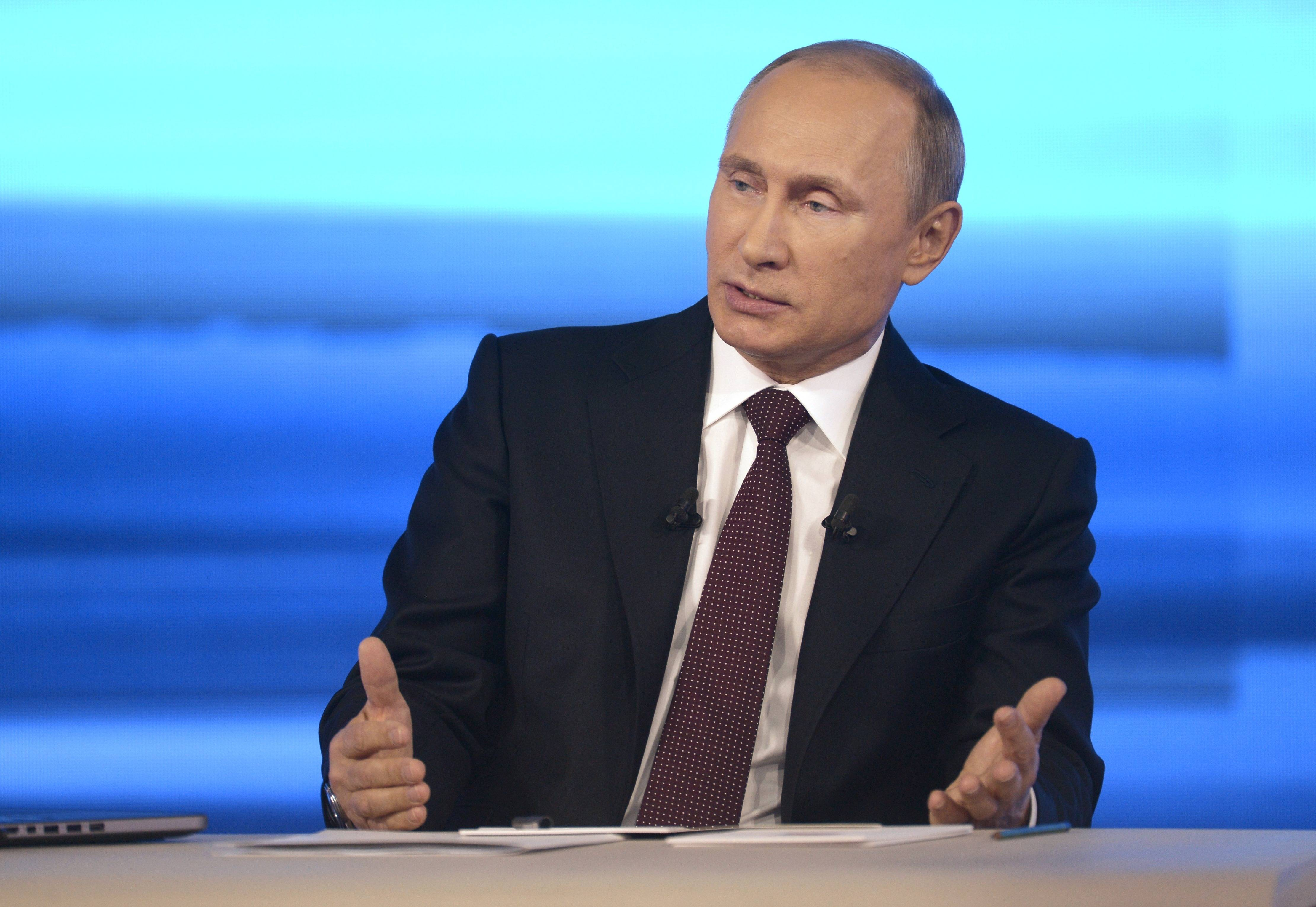 "Russian President Vladimir Putin speaks during a nationally televised question-and-answer session in Moscow on Thursday. He claimed that Russian special forces are fomenting unrest in eastern Ukraine as ""nonsense,"" but voiced hope for success of four-way talks on settling the crisis."