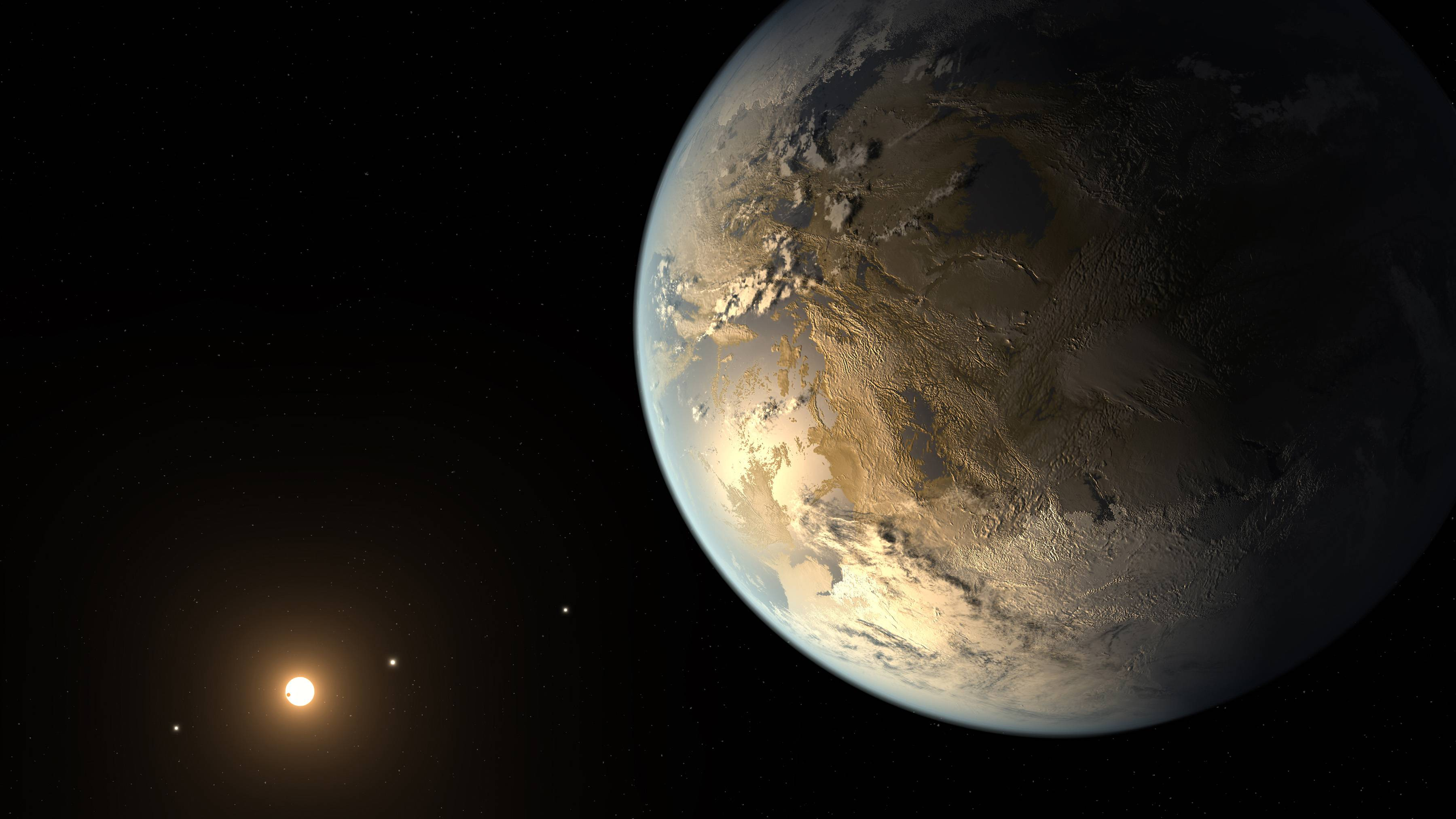 This artist's rendering provided by NASA shows an Earth-sized planet dubbed Kepler-186f orbiting a star 500 light-years from Earth. Astronomers say the planet may hold water on its surface and is the best candidate yet of a habitable planet in the ongoing search for an Earth twin.