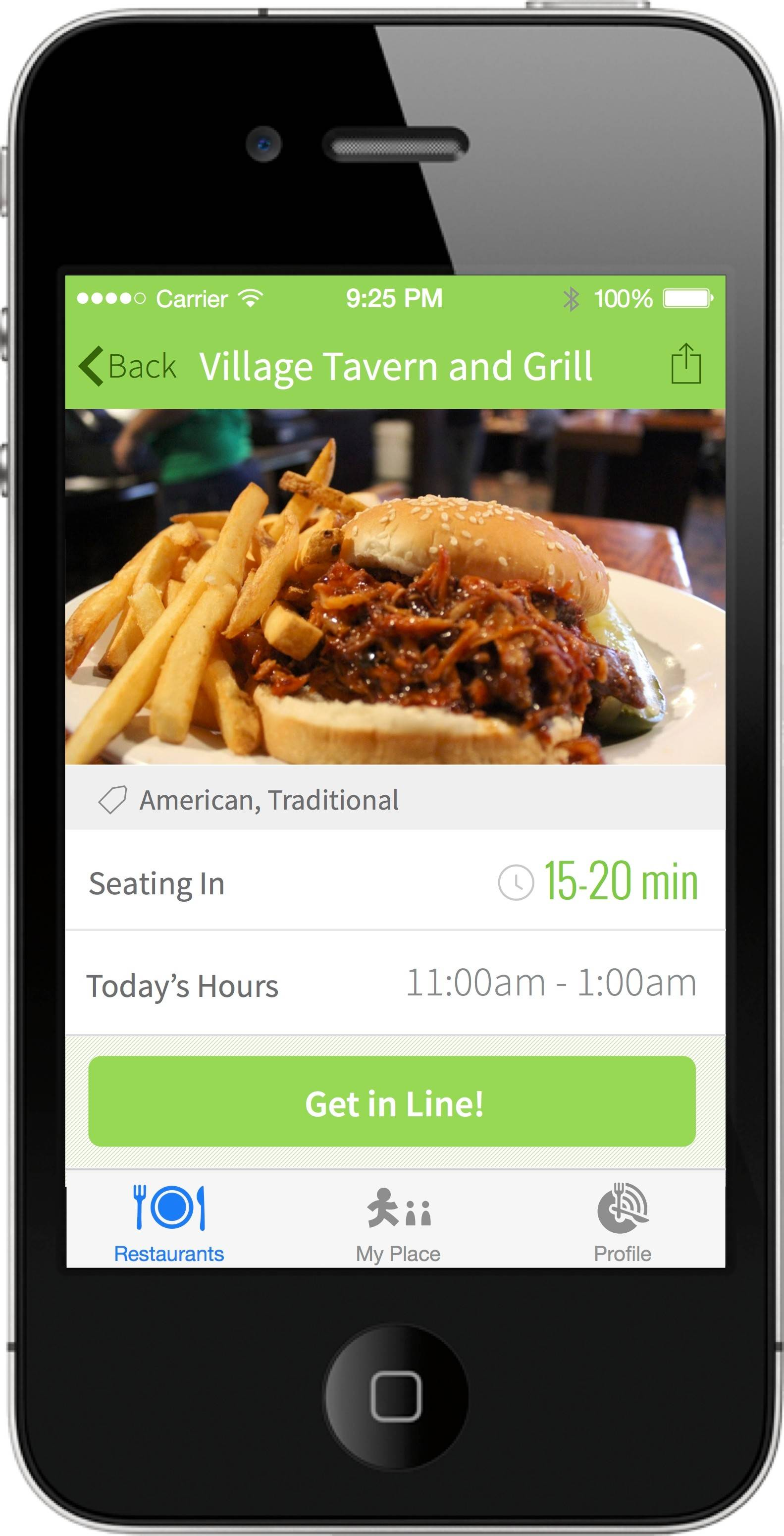 Village Tavern & Grill's wait times are seen on a smartphone using the NoWait app.