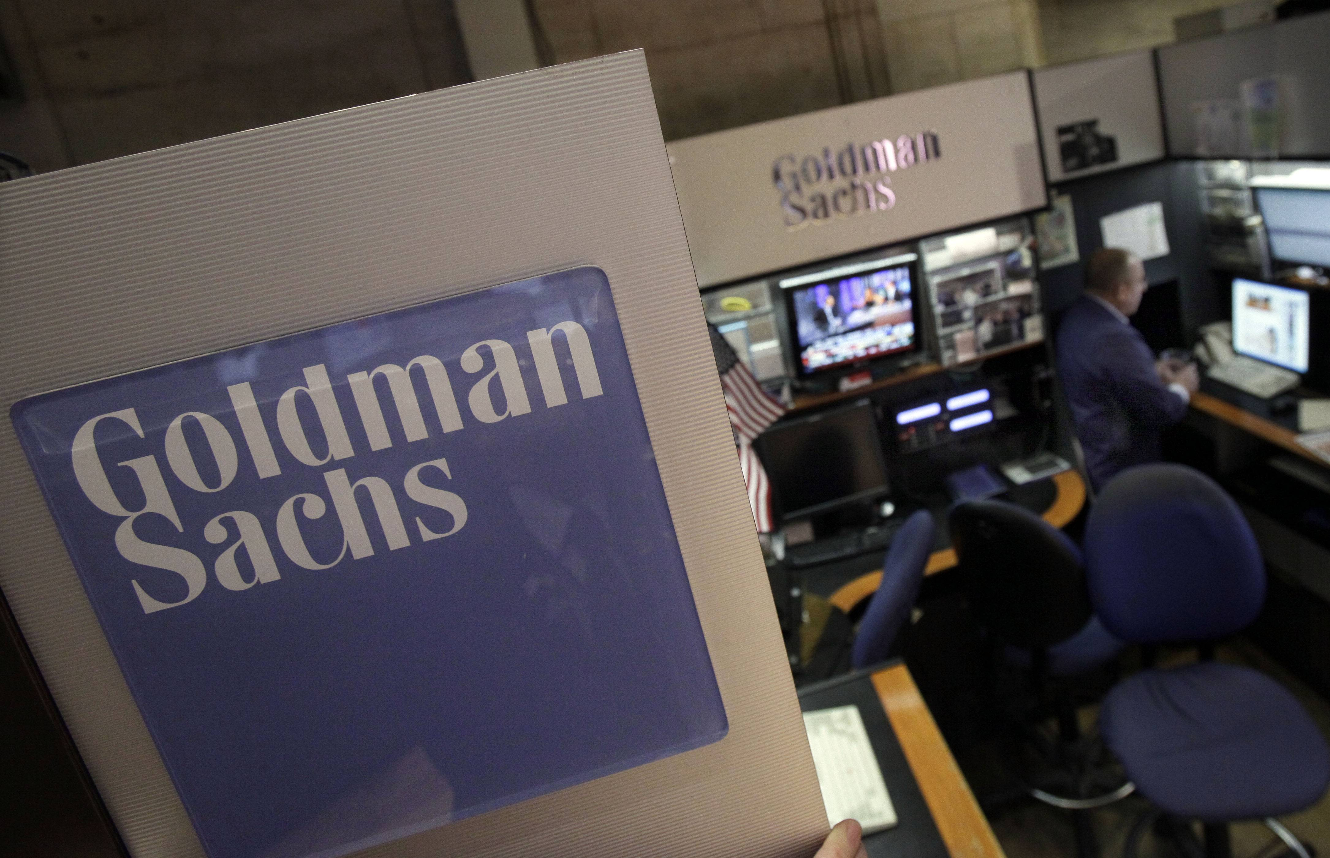 Goldman Sachs' earnings fell in the first quarter as bond trading slumped, but the results still came in well ahead of what investors were expecting.