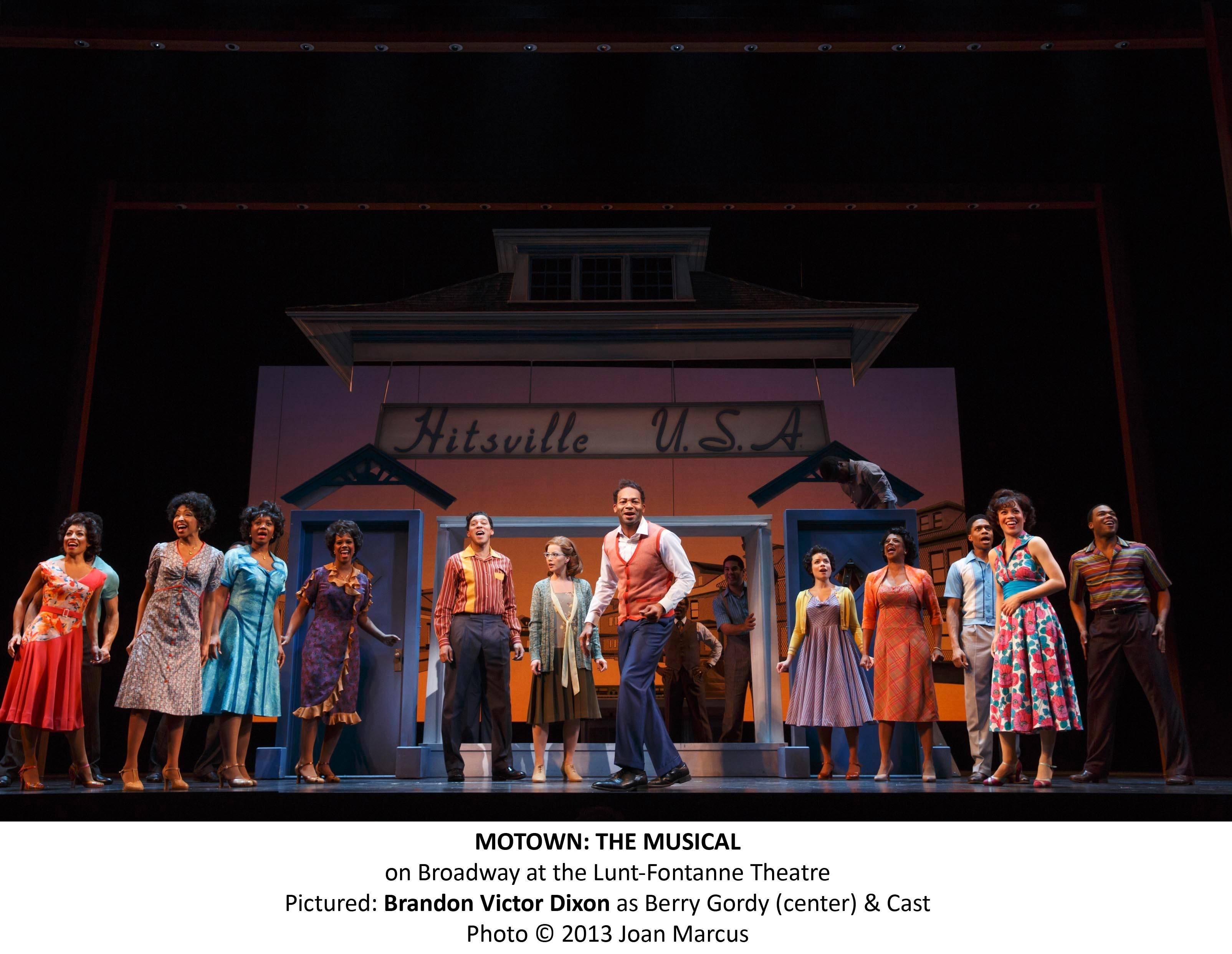 "Brandon Victor Dixon stars as Motown founder and songwriter Berry Gordy (center) in the 2013 Broadway production of ""Motown The Musical."" The national tour of the show launches in Chicago at the Oriental Theatre."
