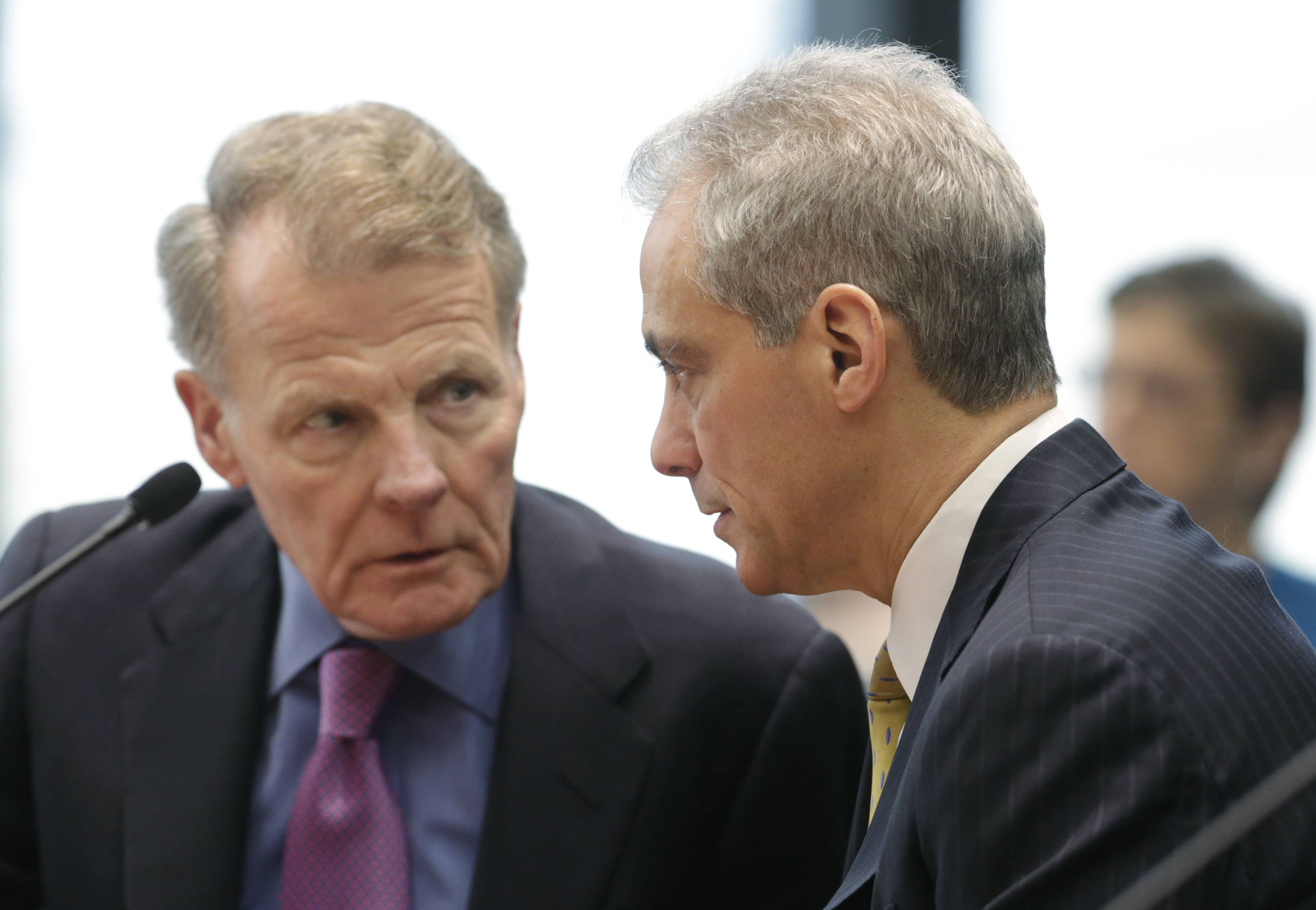 Illinois House Speaker Michael Madigan, left, and Chicago Mayor Rahm Emanuel appear before an Illinois House committee meeting Thursday where both supported a plan to devote $100 million in state funds to help bring President Barack Obama's presidential museum and library to Chicago.
