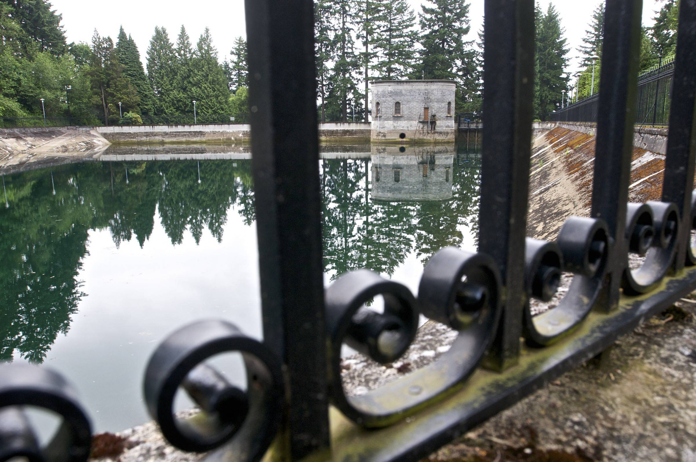 The Mount Tabor Number 1 reservoir in Portland, Ore. Portland officials said they are flushing away millions of gallons of treated water for the second time in less than three years because someone urinated into a city reservoir. This time, 38 million gallons from a different reservoir at the same location will be discarded after a 19-year-old was videotaped in the act.