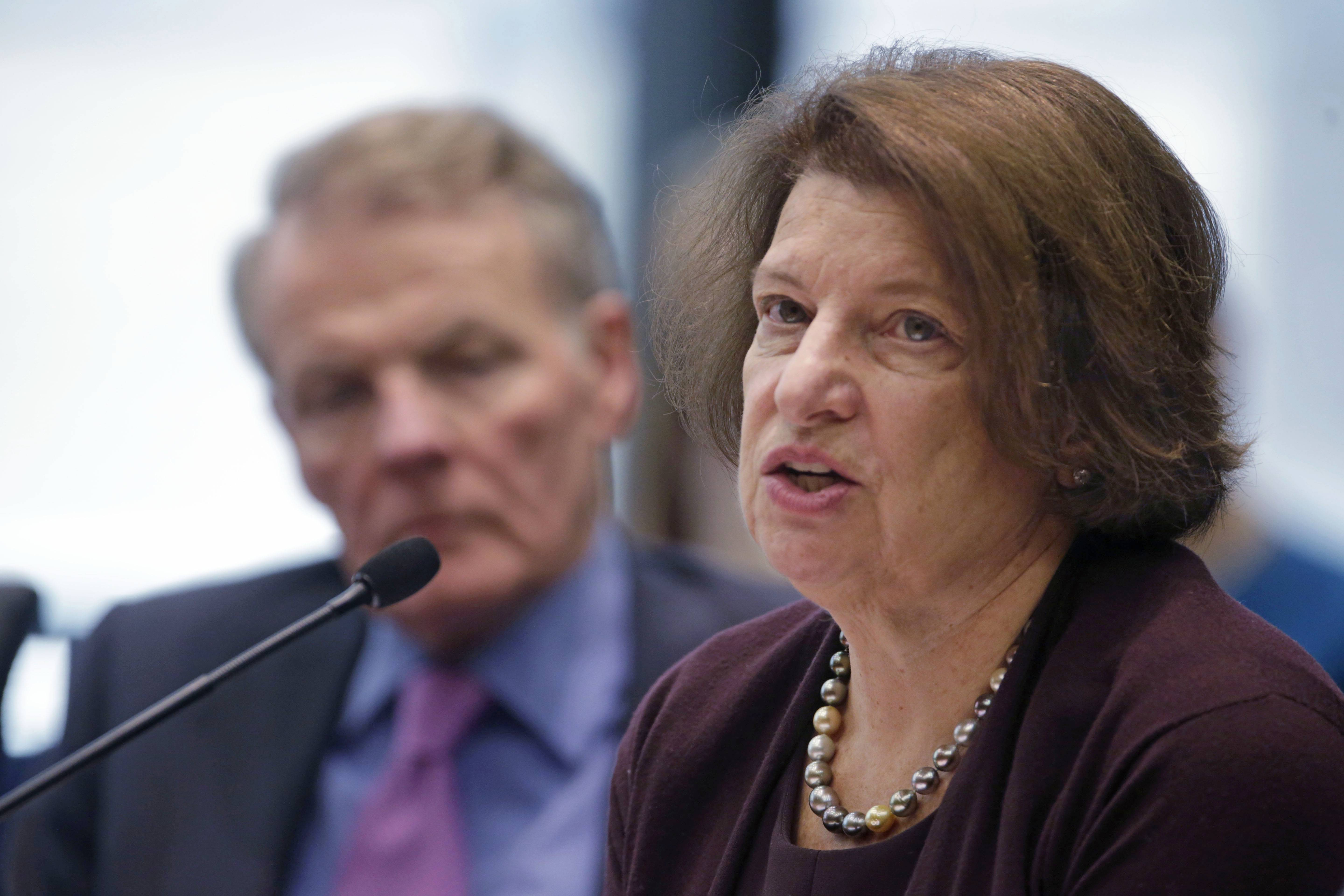 Susan Sher, senior adviser to the president of the University of Chicago, right, and Illinois House Speaker Michael Madigan appear before an Illinois House committee meeting Thursday in Chicago regarding a plan to devote $100 million in state funds to help bring President Barack Obama's presidential museum and library to the city.