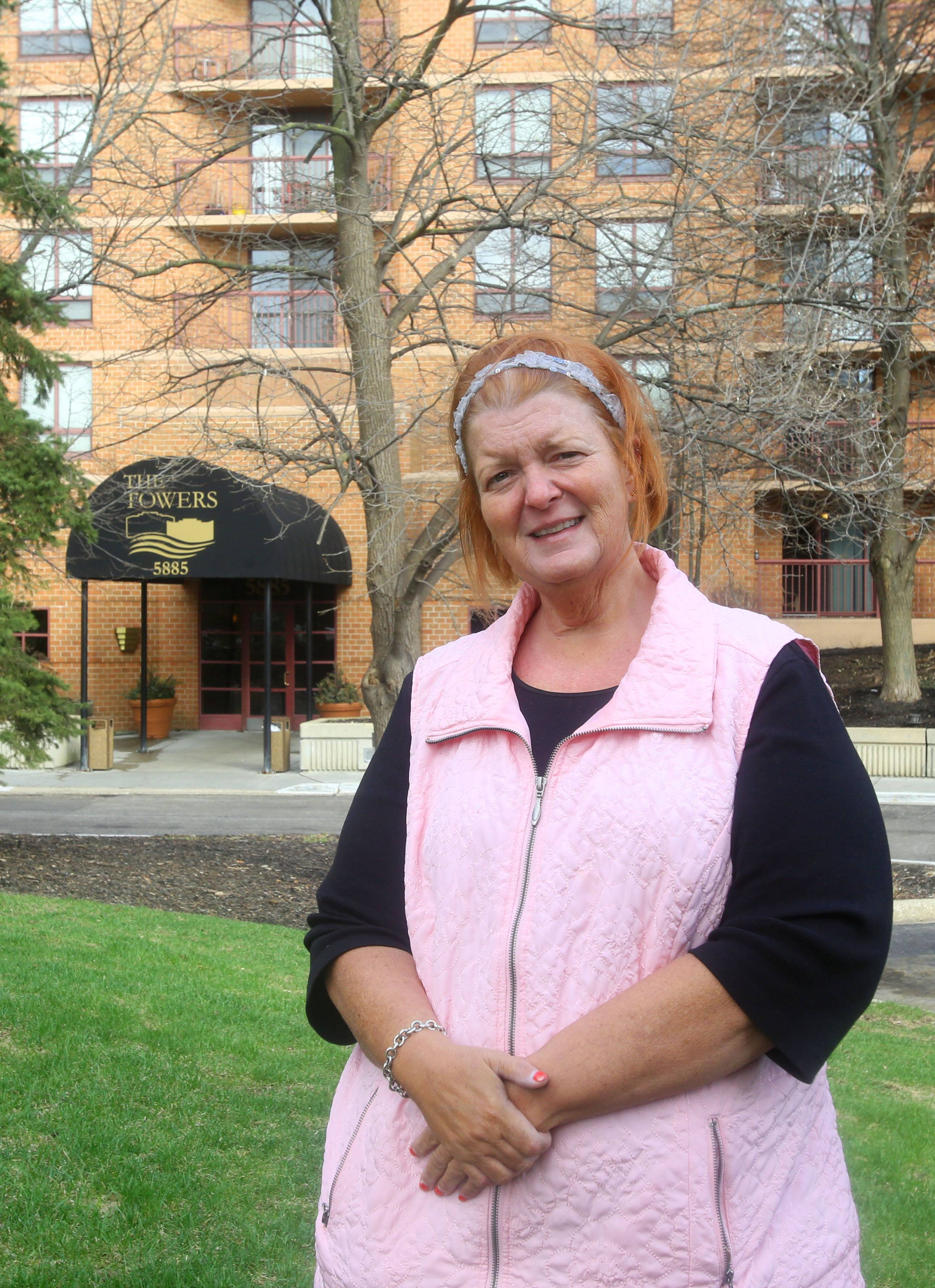 Debra Schulz of Lisle was among residents of about 475 units at the Towers at Four Lakes apartment complex who were displaced for two months last spring following flooding that damaged the electrical system that powered the buildings.