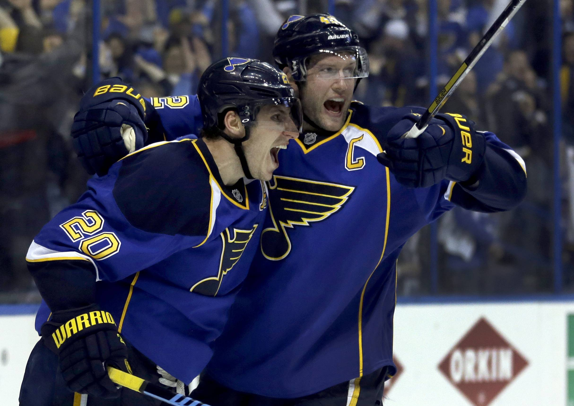 St. Louis Blues' Alexander Steen, left, is congratulated by teammate David Backes after scoring the game-winning goal during the third overtime .