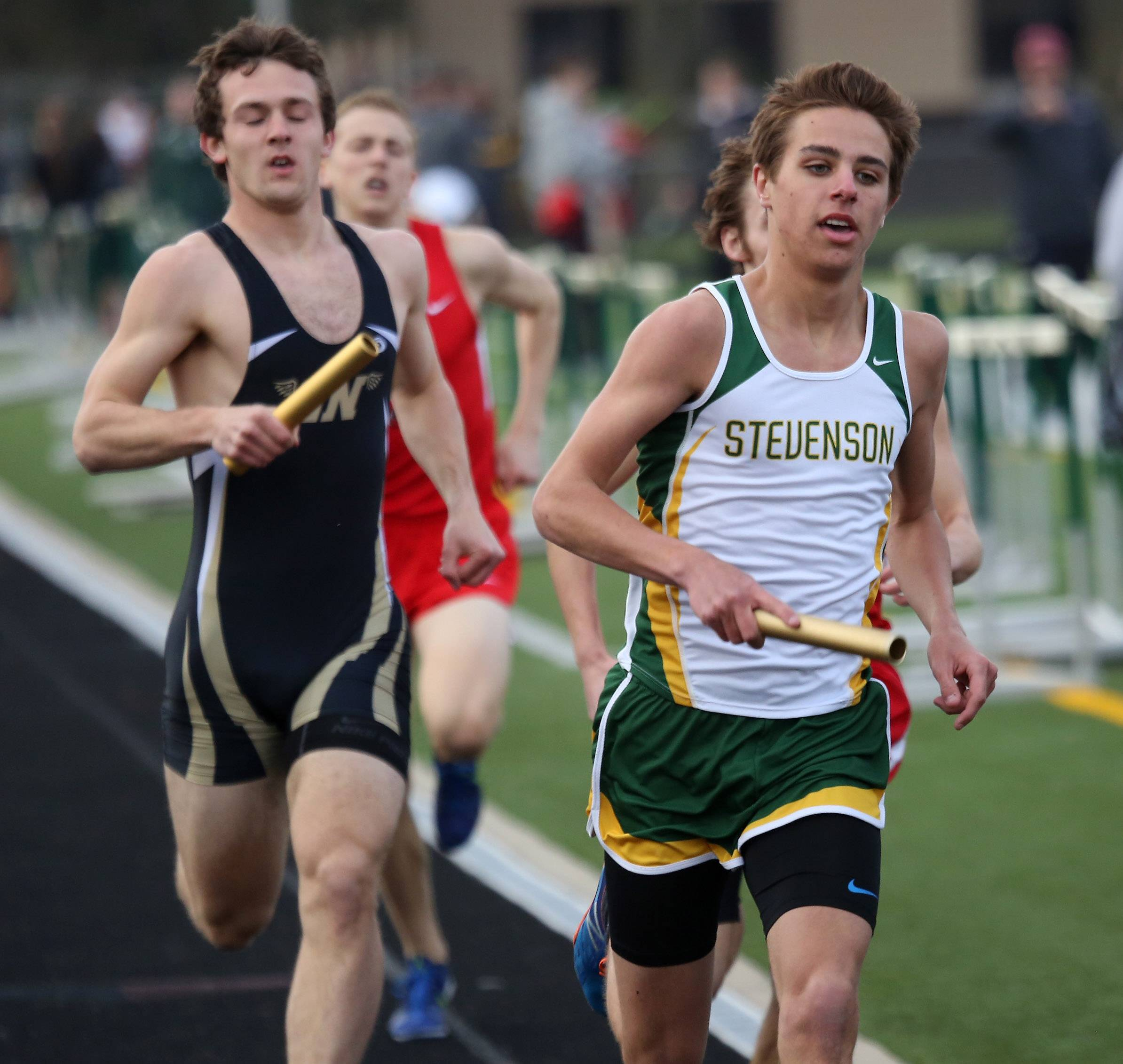 Stevenson Jared Borowsky runs in the 3,200-meter relay during the 43rd Annual Patriot Relays Thursday at Stevenson.