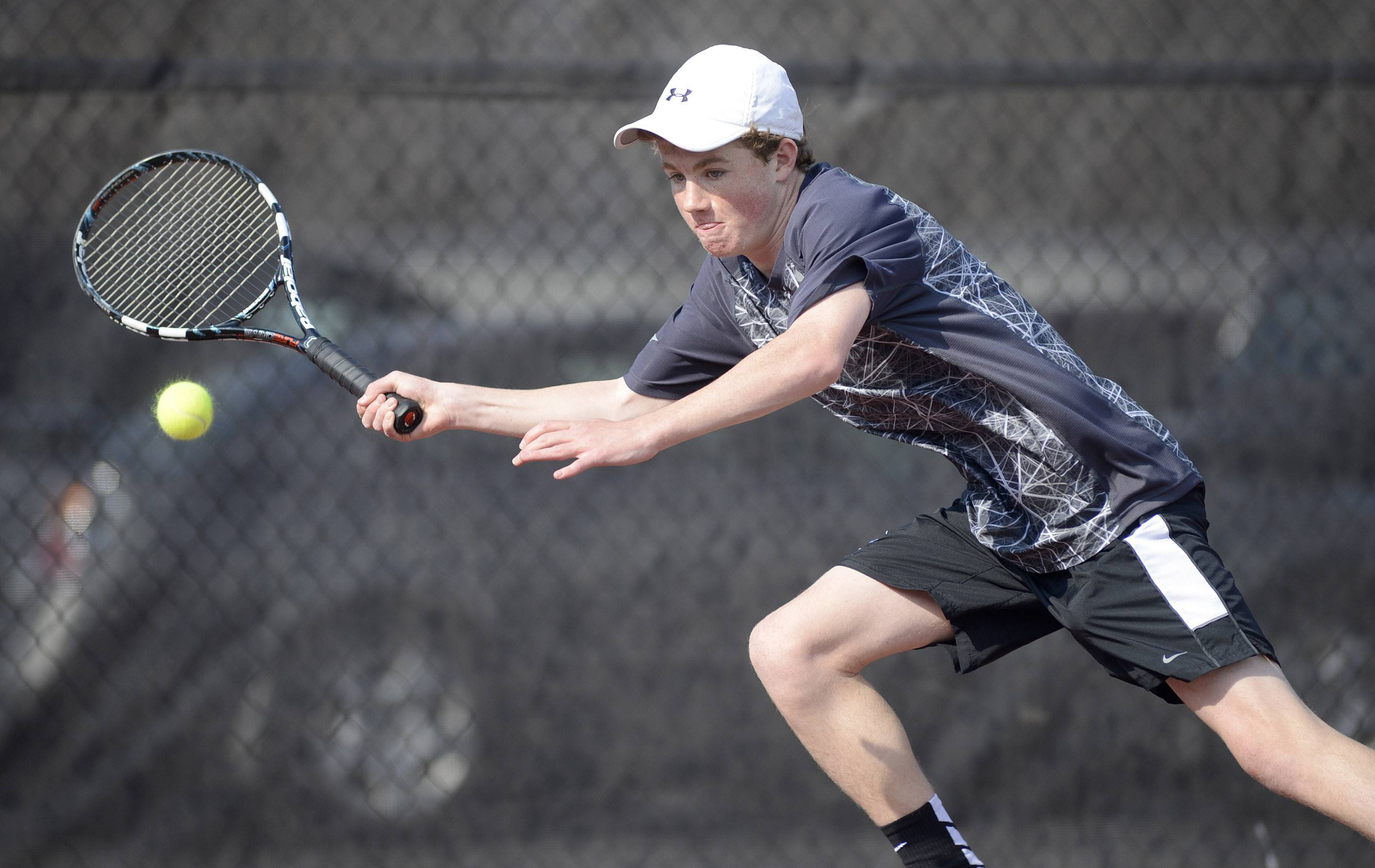 St. Charles North's Matt Ernst in first singles match vs. St. Charles North on Thursday, April 17.