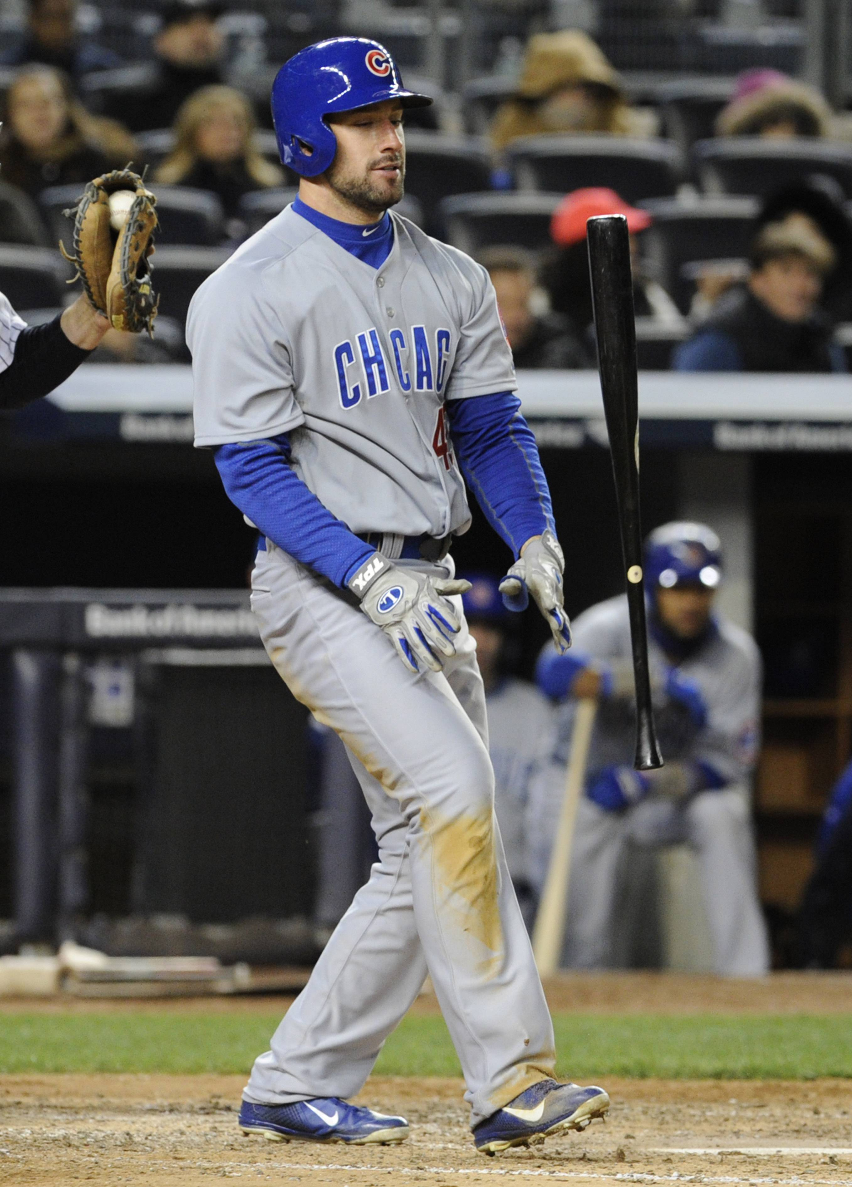 Chicago Cubs' Ryan Kalish flips his bat after striking out during the fifth inning of Game 2 of an interleague baseball doubleheader against the New York Yankees, Wednesday, April 16, 2014, at Yankee Stadium in New York.