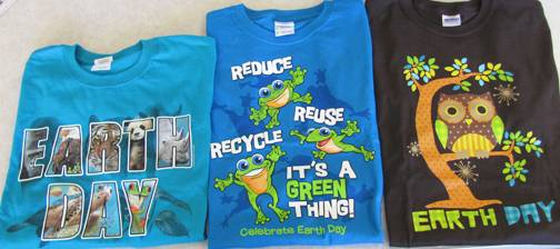 Three styles of T-shirts will be for sale from noon to 2:30 p.m. on Earth Day, April 22, at the Schaumburg Township District Library.