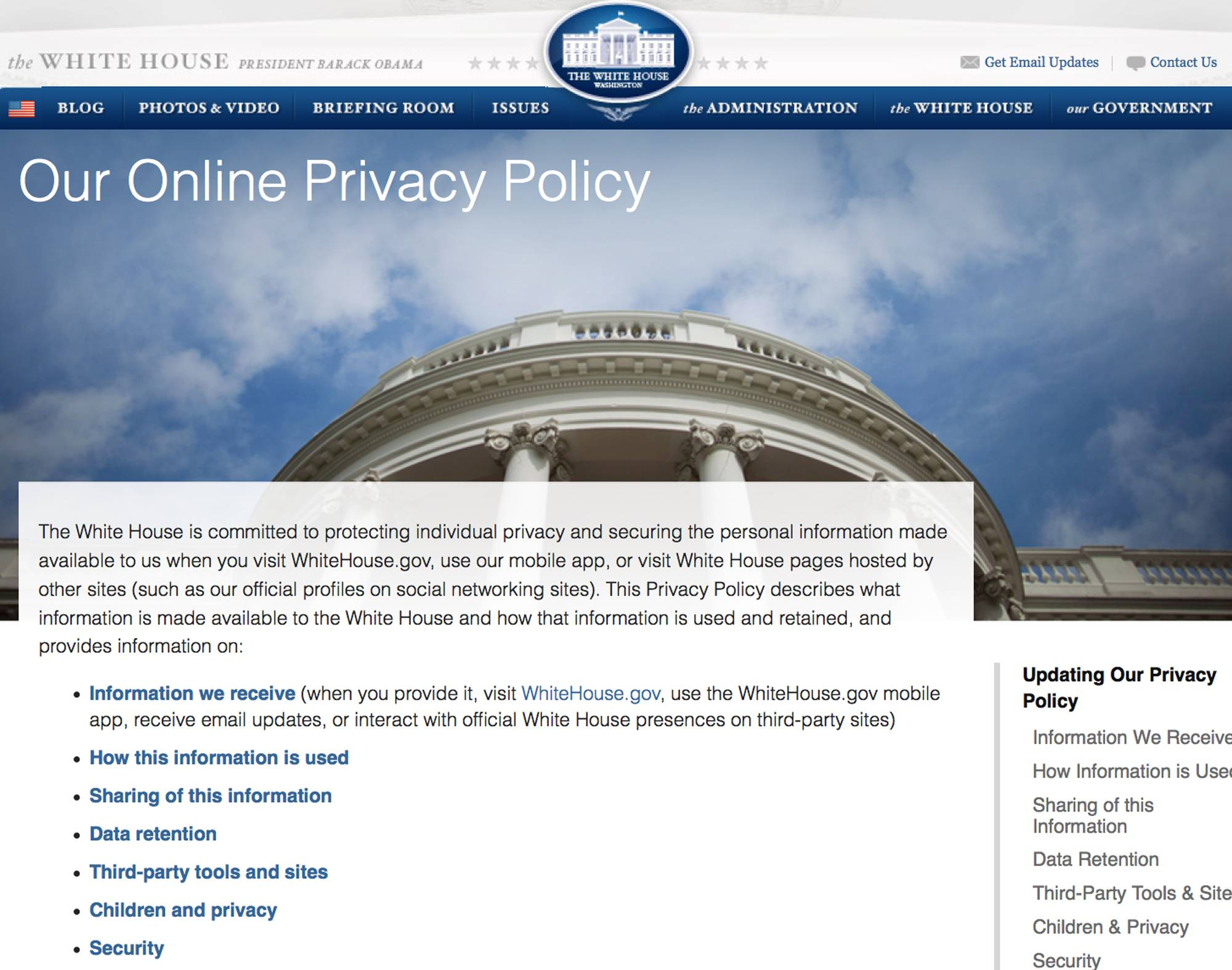 This Screen grab from the website WhiteHouse.gov taken Friday shows the screen explaining a new Obama administration privacy policy released Friday explaining how the government will gather the user data of online visitors to WhiteHouse.gov, mobile apps and social media sites, and it clarifies that online comments, whether tirades or tributes, are in the open domain.
