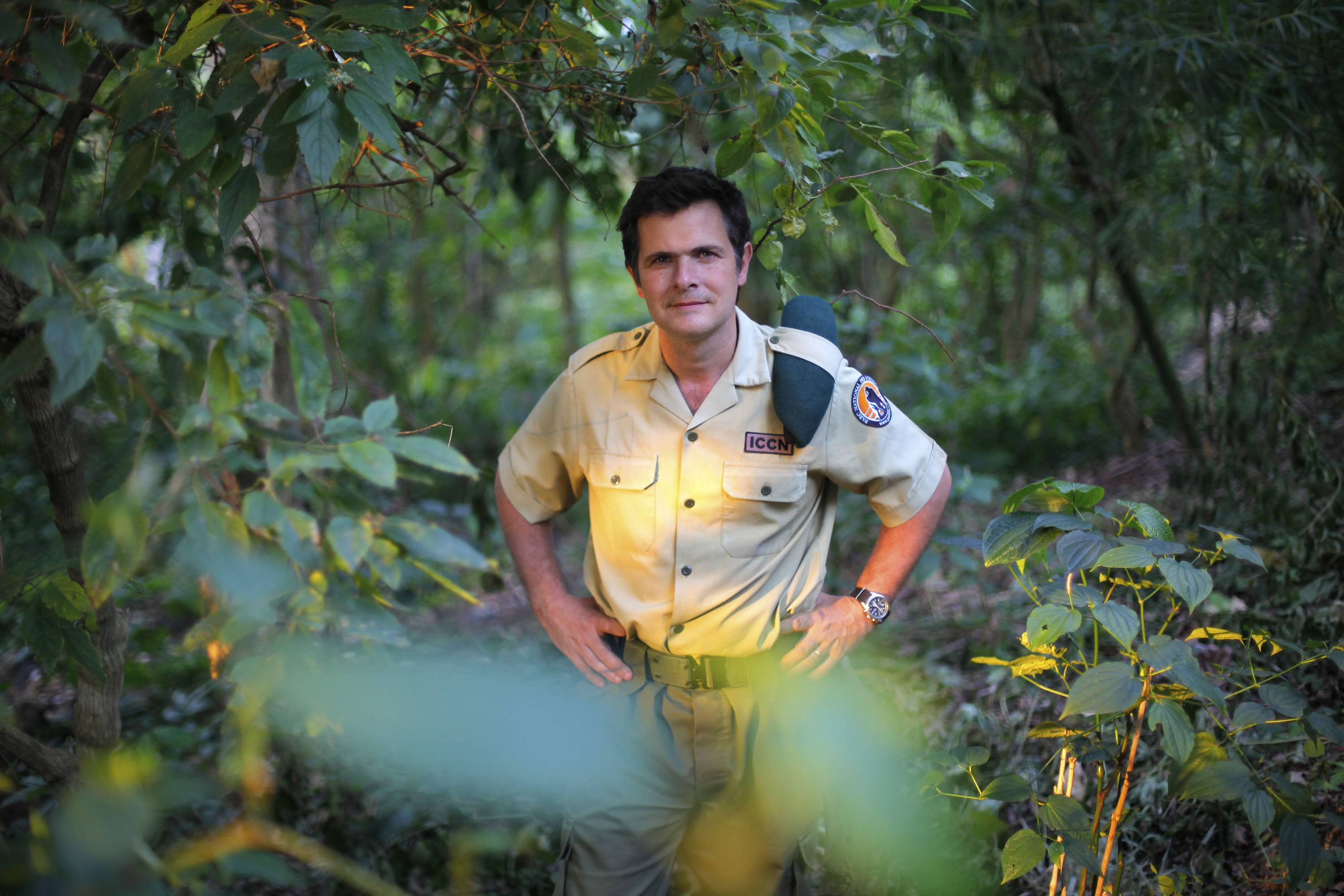 "Emmanuel de Merode, Virunga National Park director and chief warden, poses at the park headquarters in Rumangabo in eastern Congo in 2012. The Belgian director of Africa's oldest national park, a reserve in conflict-ridden eastern Congo, was shot and seriously wounded Tuesday. The documentary ""Virunga,"" about those who protect Virunga National Park from armed poachers and encroaching oil interests, premiered Thursday at the Tribeca Film Festival."