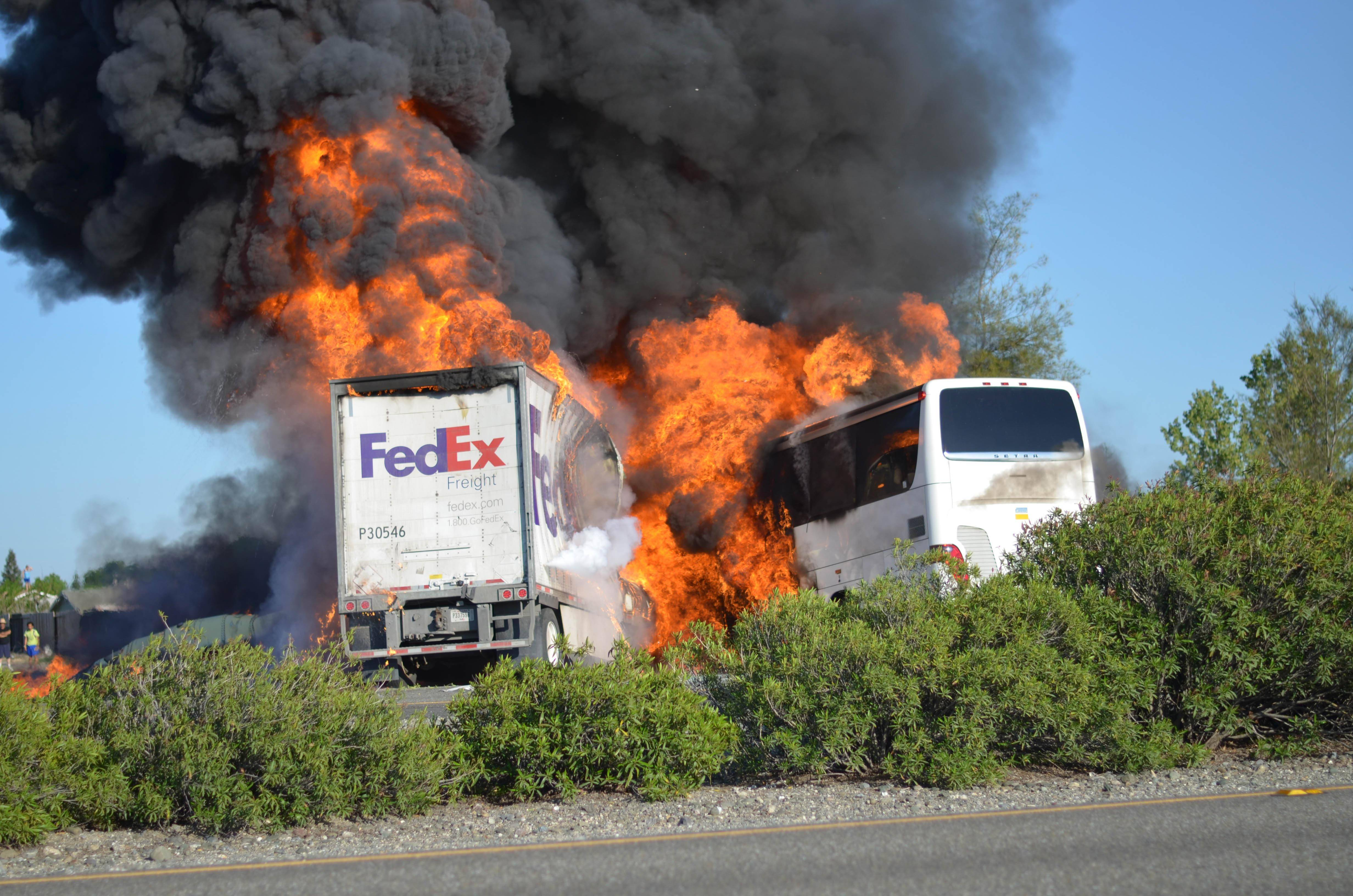 Authorities are releasing 911 calls made after a FedEx struck slammed into a tour bus carrying high school students last week, killing 10 people. The crash is under investigation by state and federal officials who are trying to determine why the truck driver careened across an Interstate-5 median and struck the bus, leaving no tire marks to suggest he tried to brake.